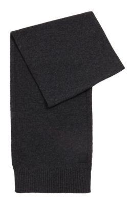 Écharpe en maille structurée de fil italien, Gris sombre