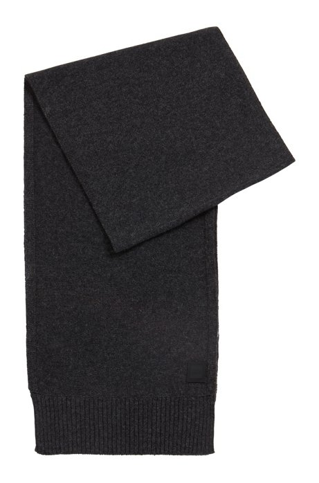 Structured-knit scarf in Italian yarn, Dark Grey
