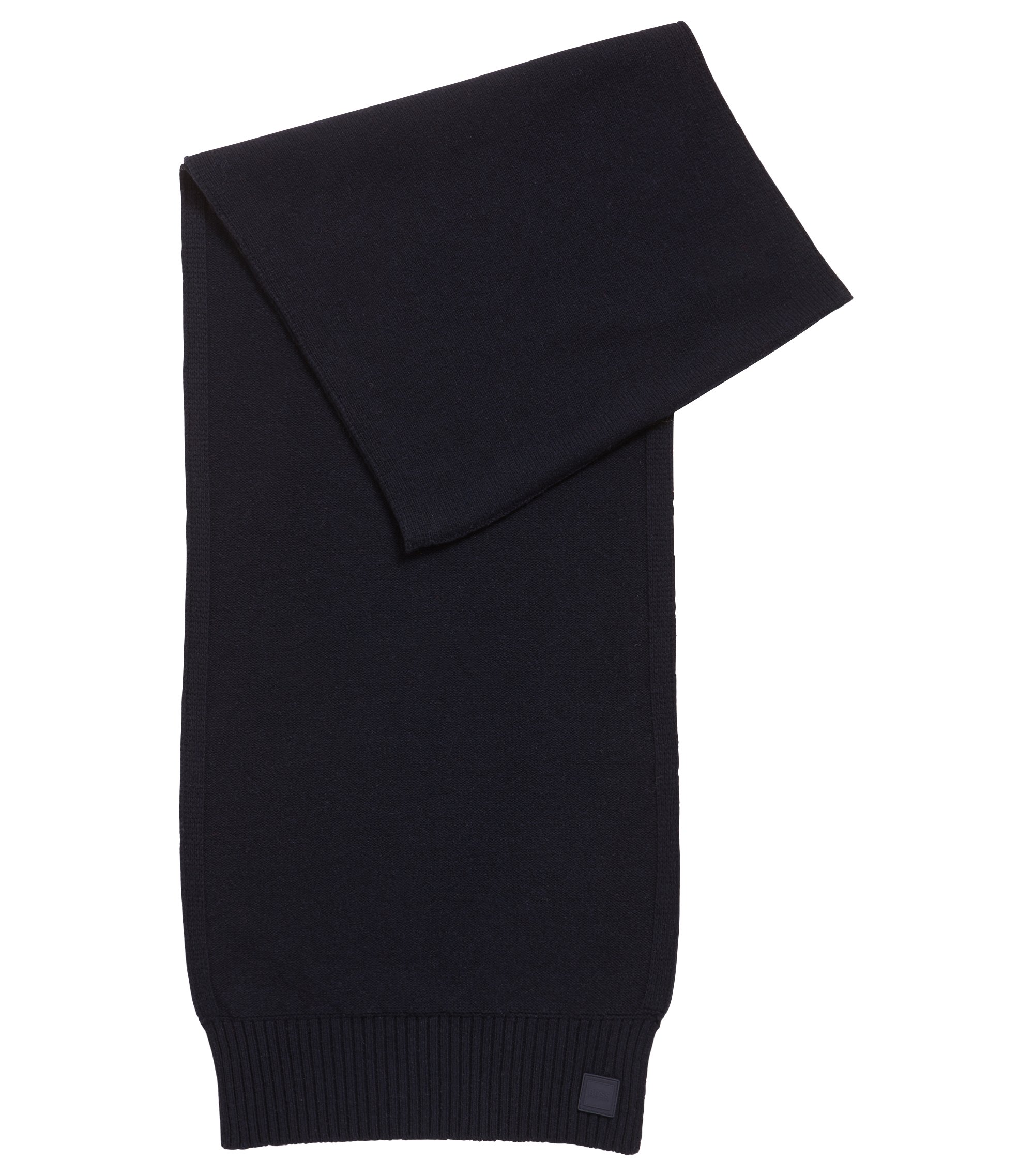 Structured-knit scarf in Italian yarn, Dark Blue