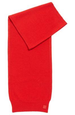 Sciarpa in maglia lavorata in filato realizzato in Italia, Rosso