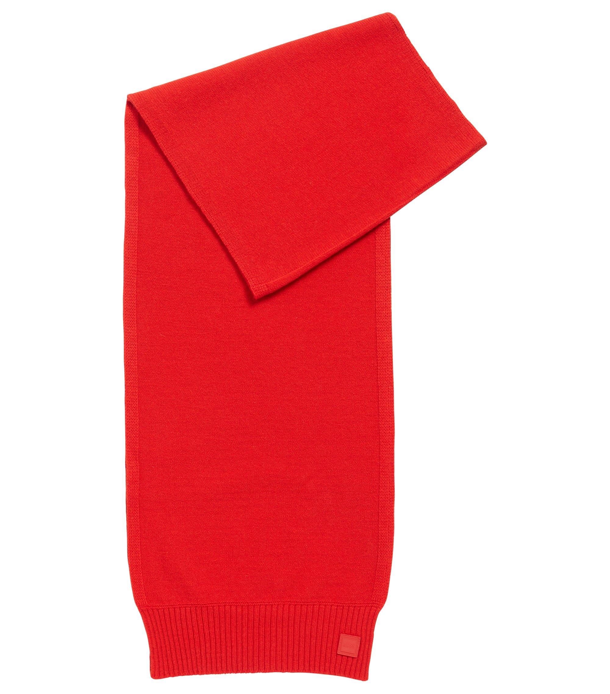 Structured-knit scarf in Italian yarn, Red