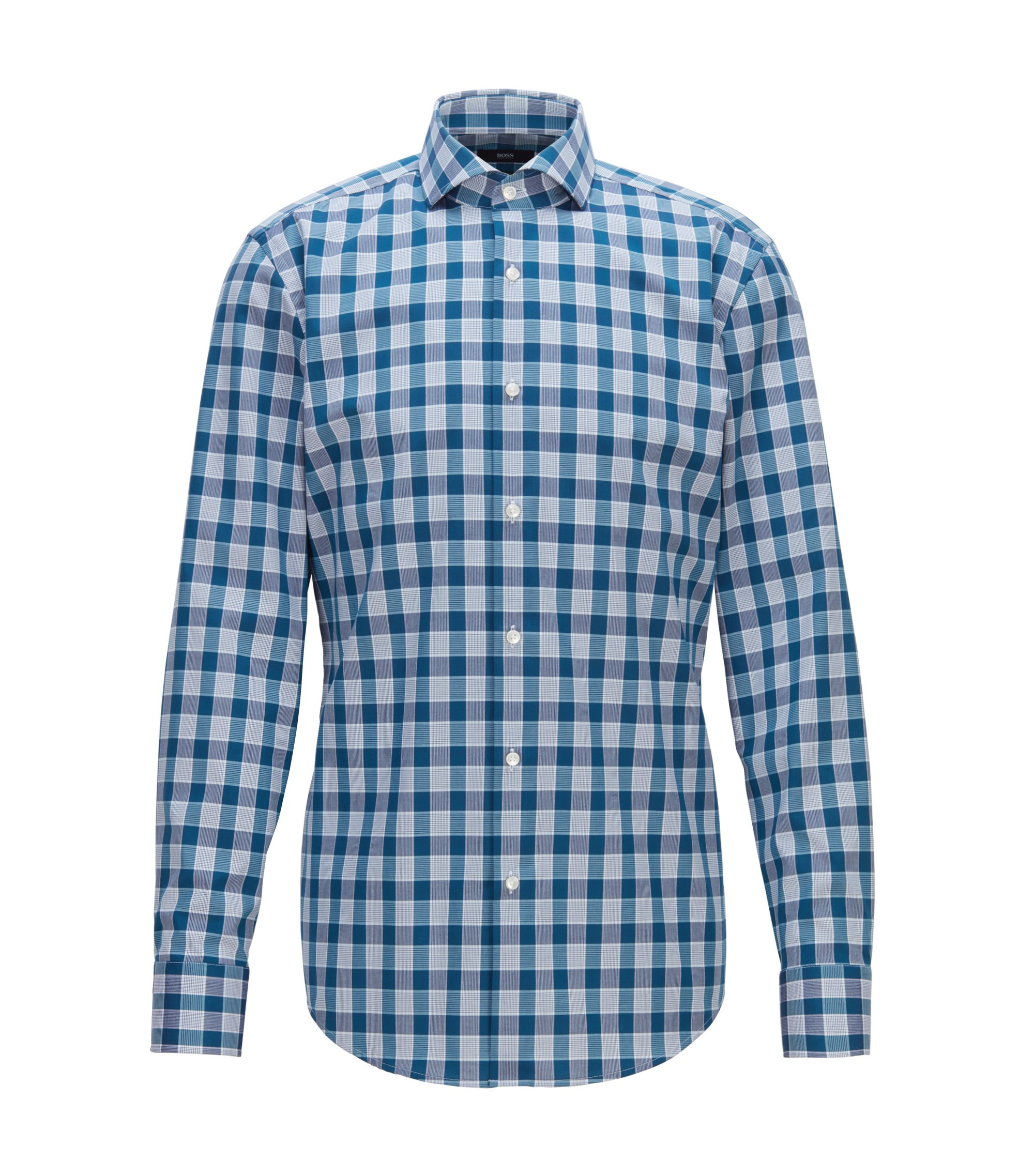 Camicia slim fit facile da stirare in cotone a quadri Vichy, Turchese