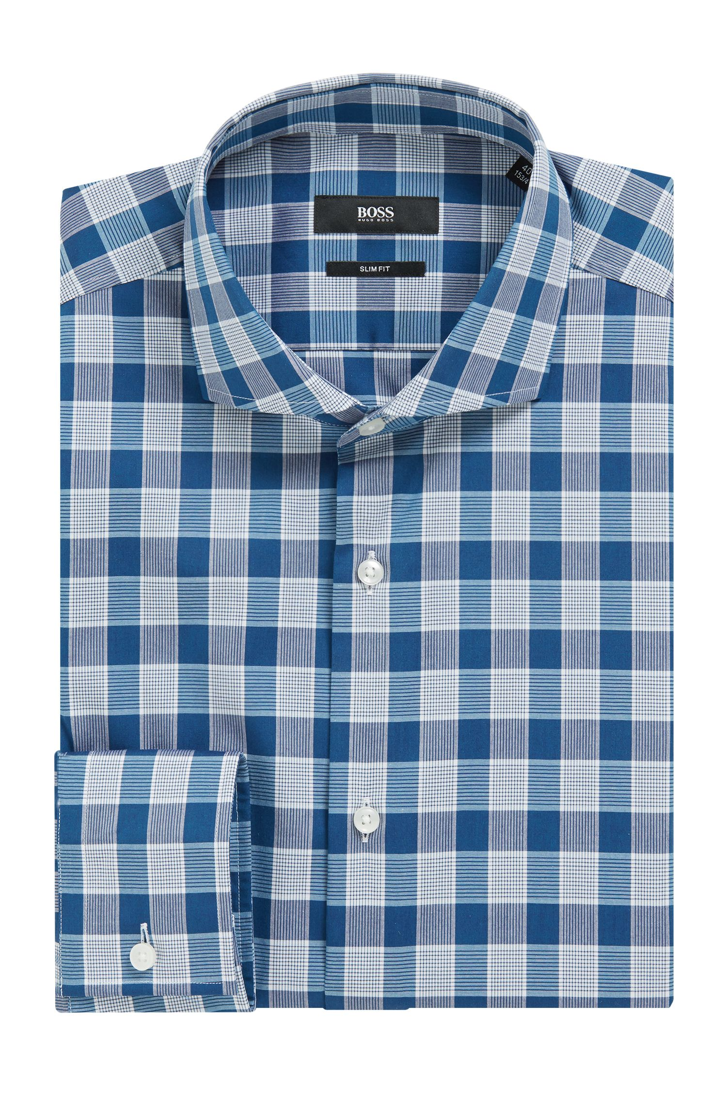 Easy-iron slim-fit shirt in Vichy-check cotton, Turquoise