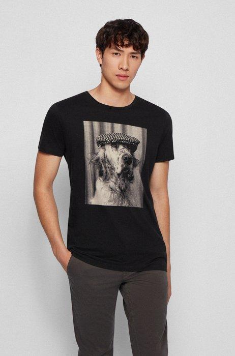Pima-cotton T-shirt with photographic print, Black