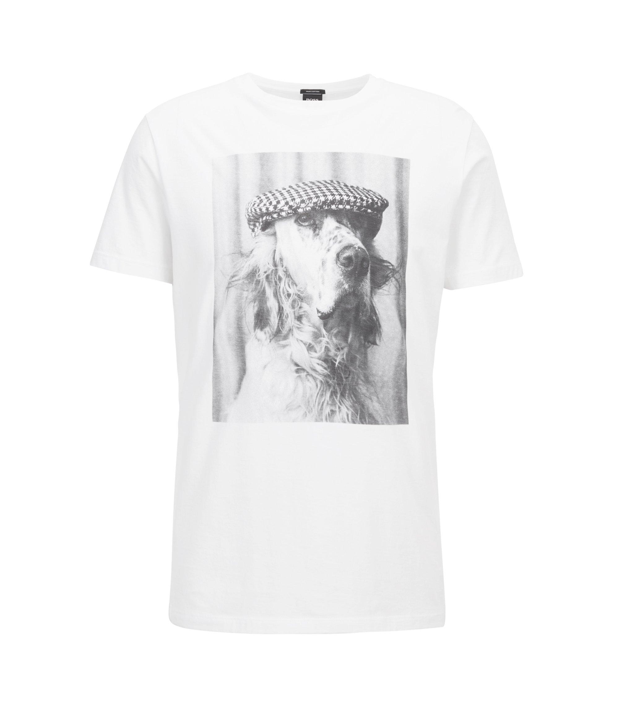 T-shirt à col ras-du-cou en coton Pima à imprimé photo, Blanc