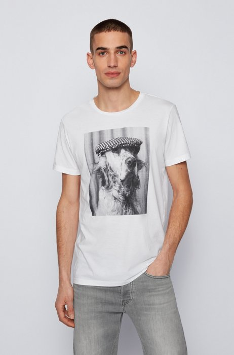 Pima-cotton T-shirt with photographic print, White