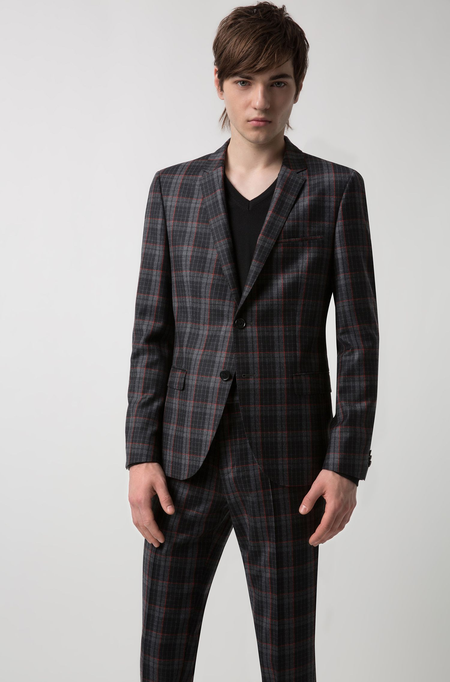 Extra-slim-fit virgin-wool jacket with Glen check, Anthracite