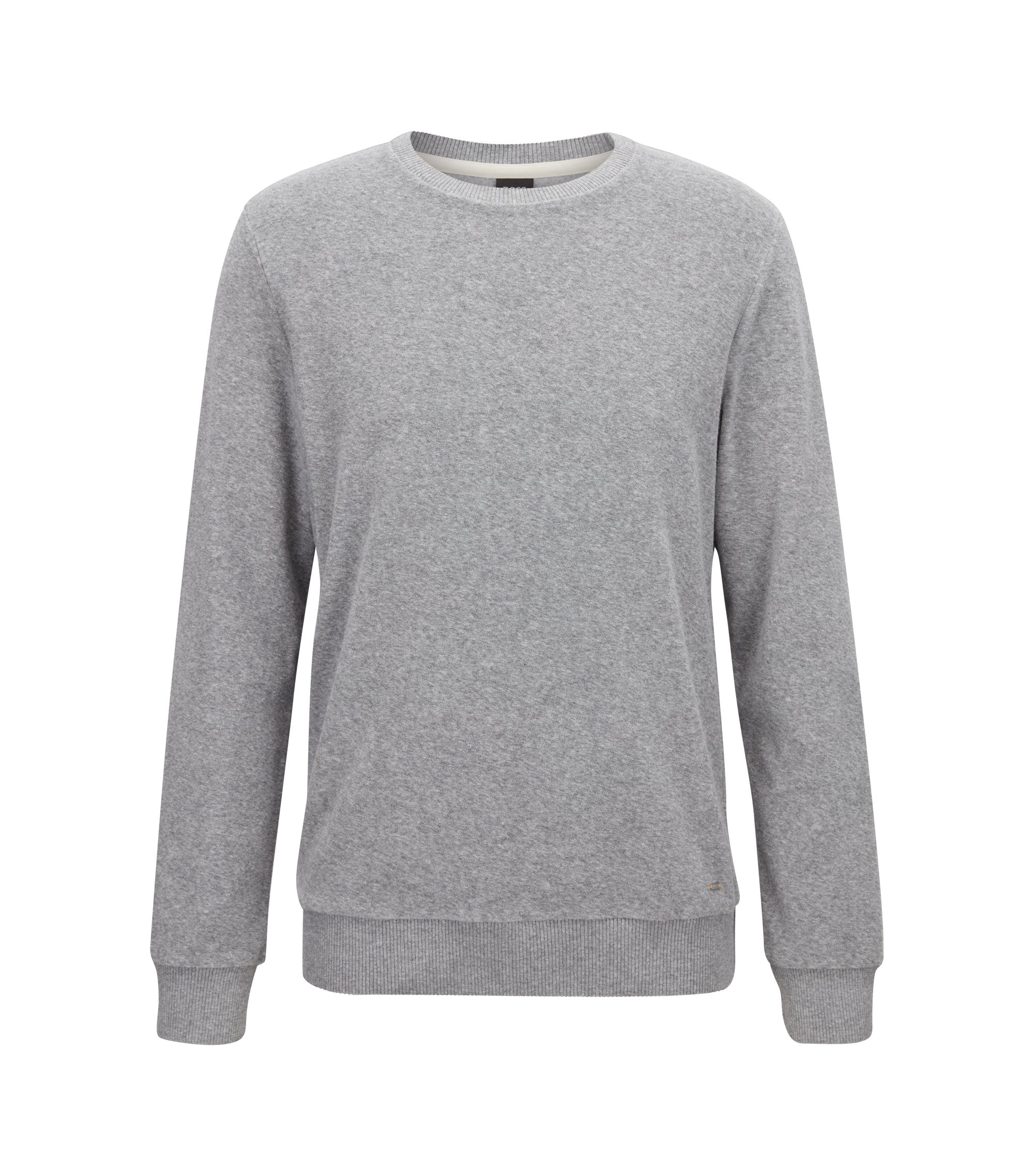 Regular-fit long-sleeved T-shirt in towelling jersey, Light Grey