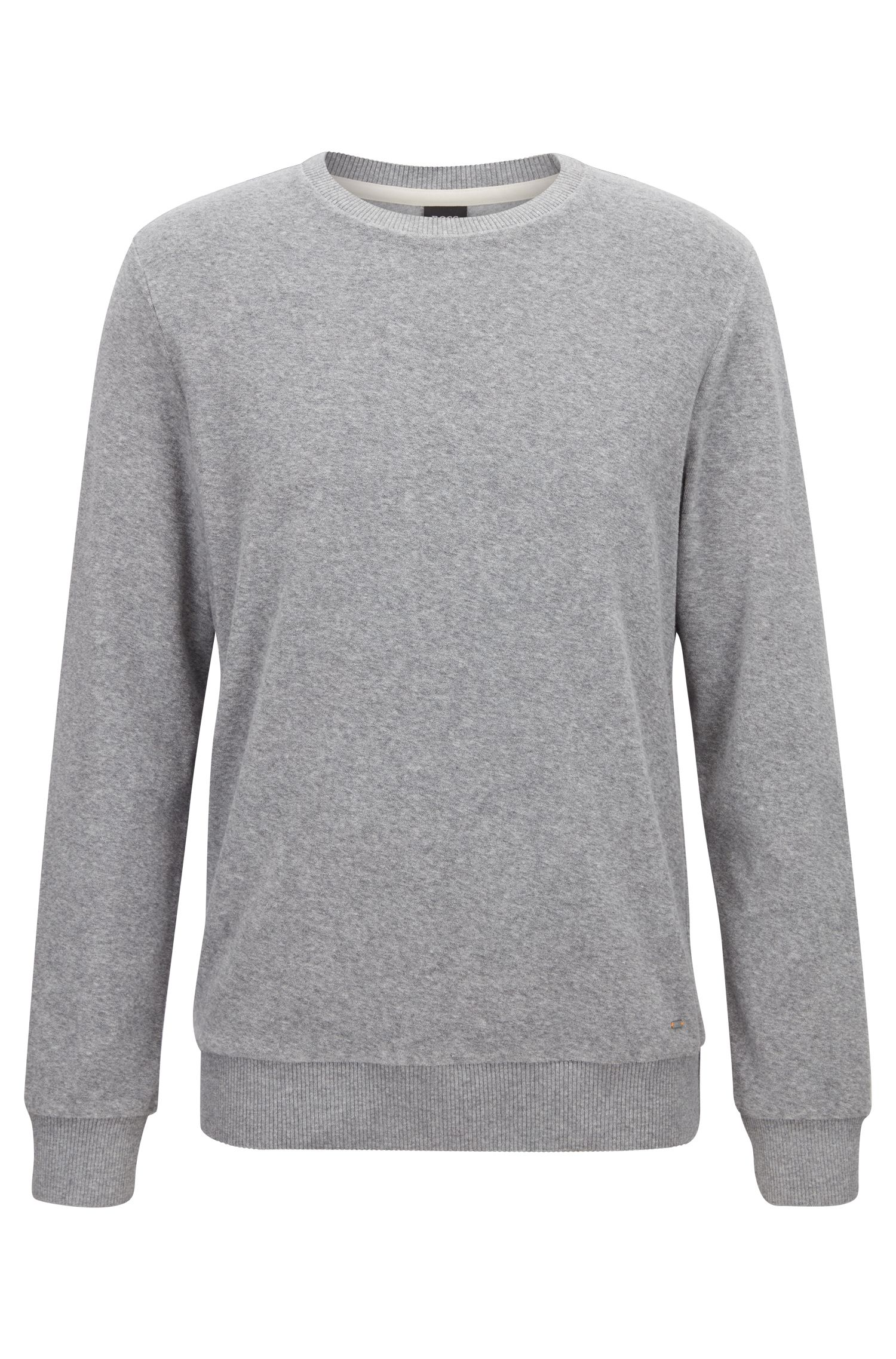 T-shirt Regular Fit en jersey éponge à manches longues, Gris chiné