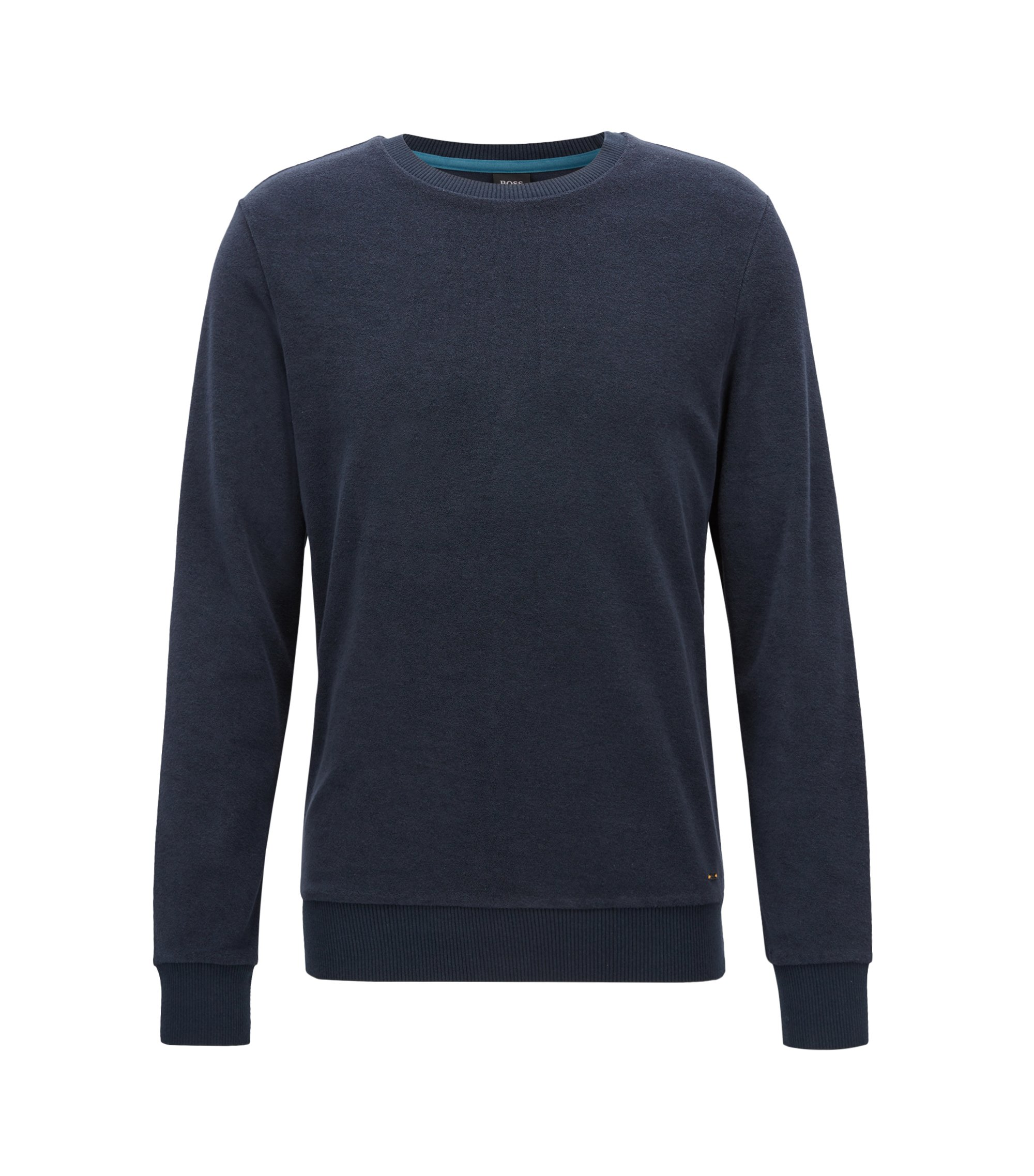 Regular-fit long-sleeved T-shirt in towelling jersey, Dark Blue