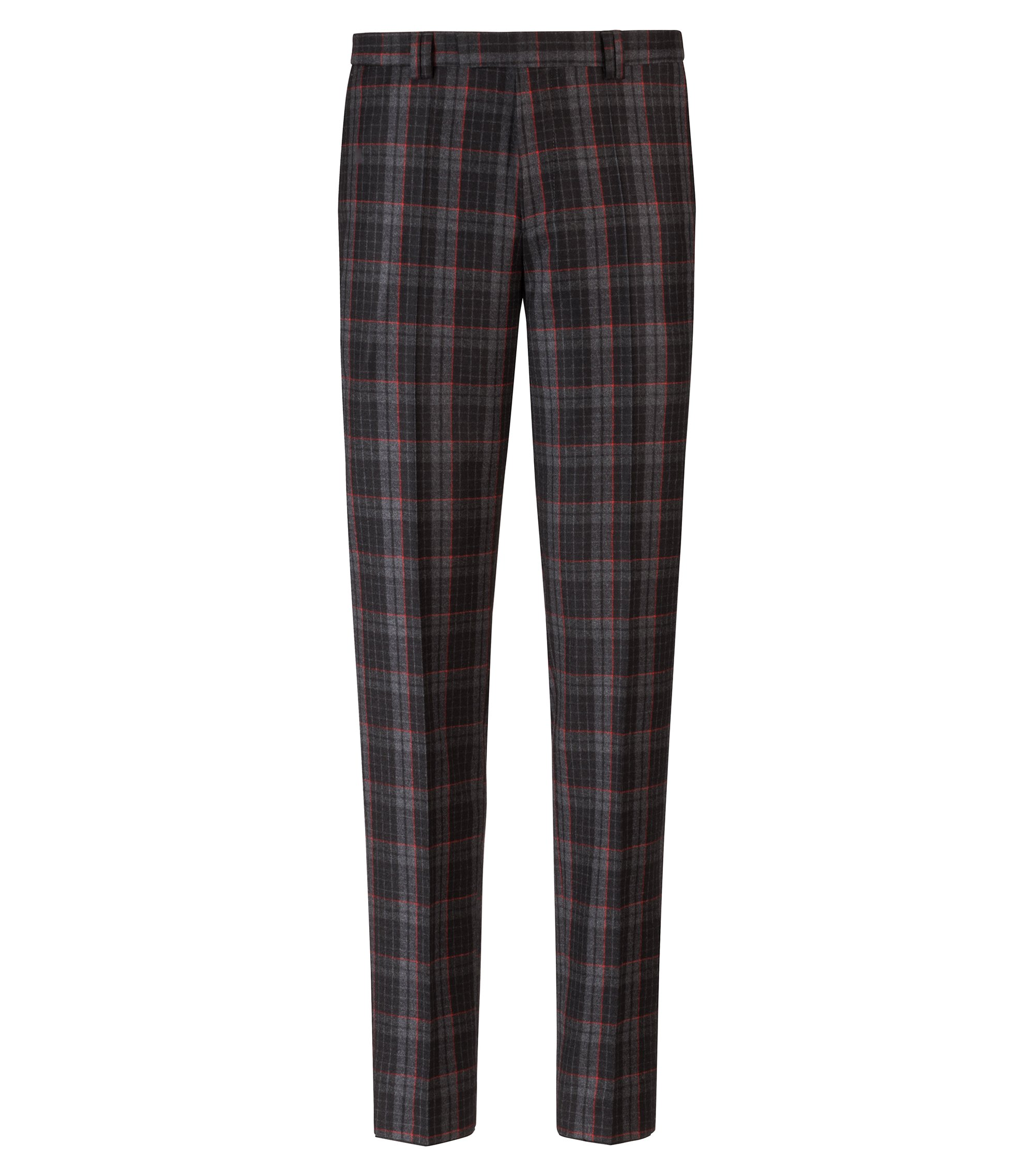 Extra-slim-fit virgin-wool trousers with Glen check, Anthracite