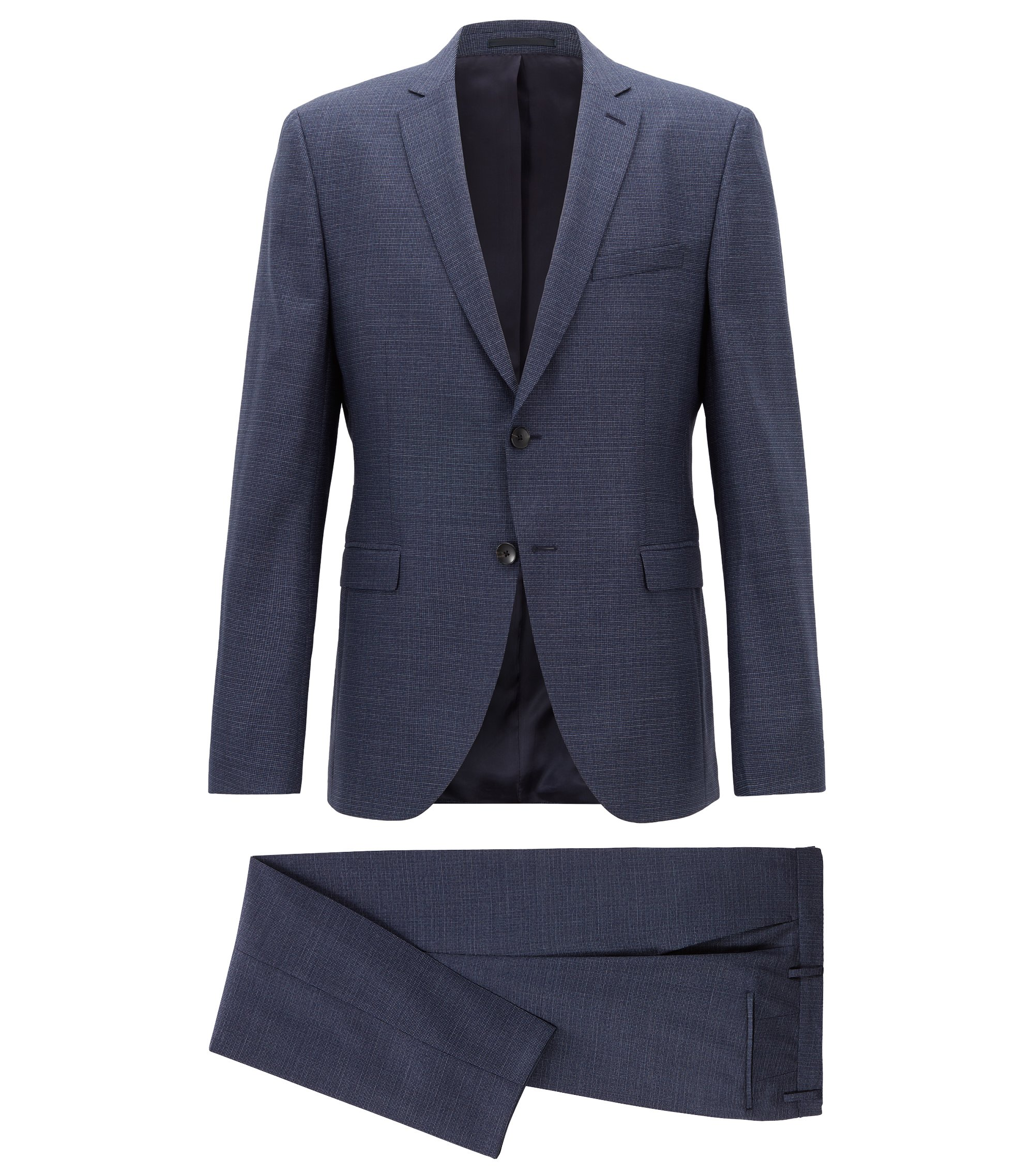 Extra-slim-fit virgin-wool suit with pattern , Dark Blue