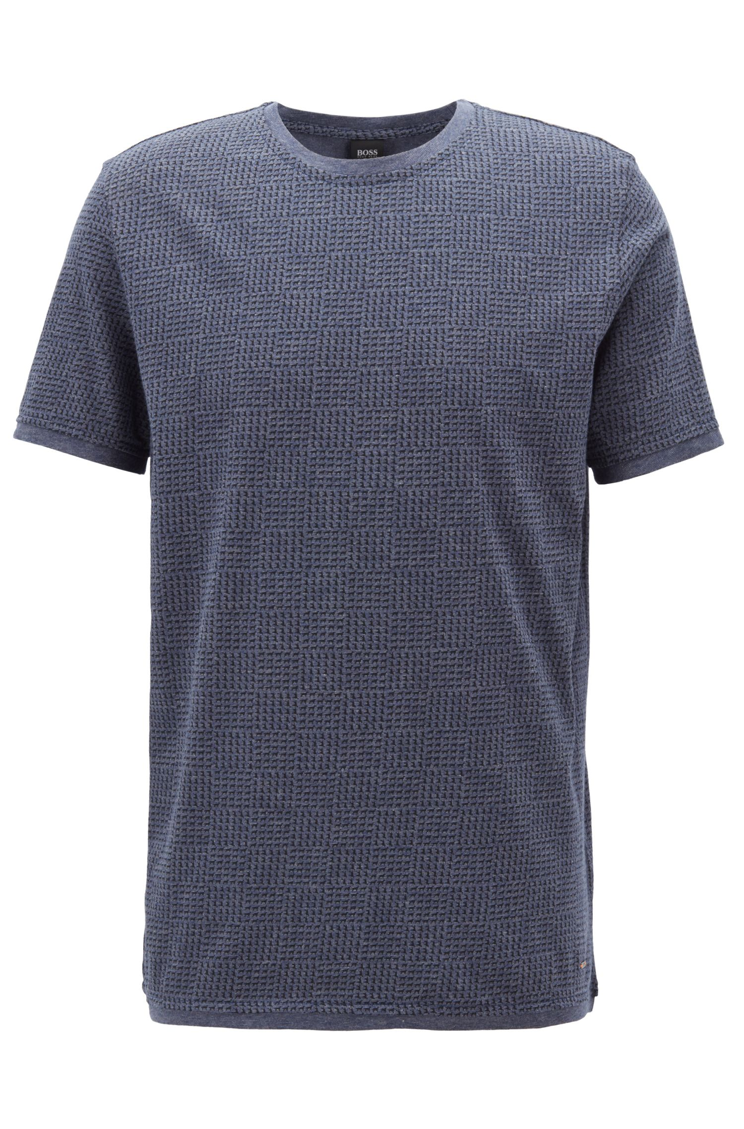 Crew-neck T-shirt in cotton with all-over print, Blue