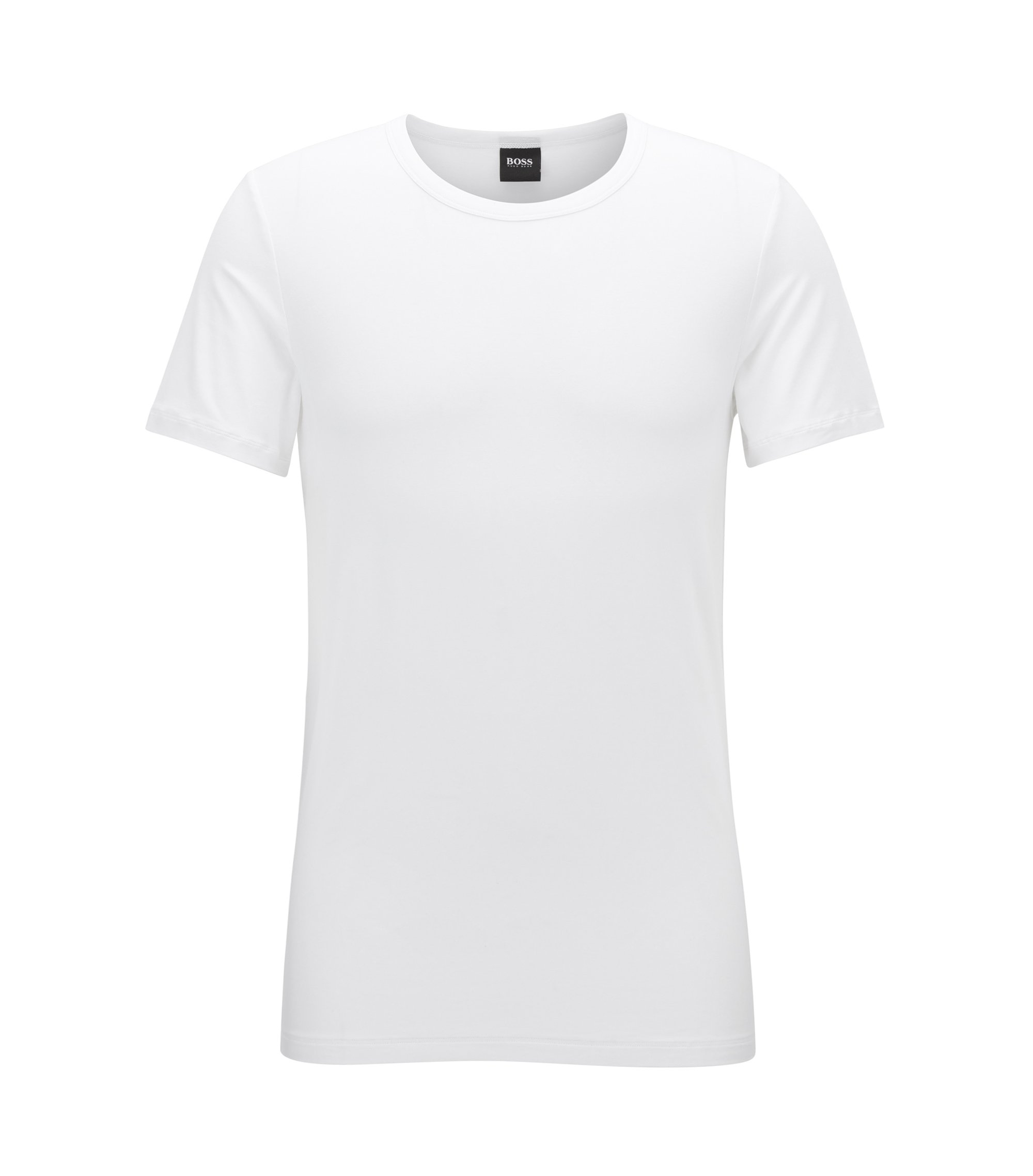 Crew-neck T-shirt in modal-blend jersey with stretch, White