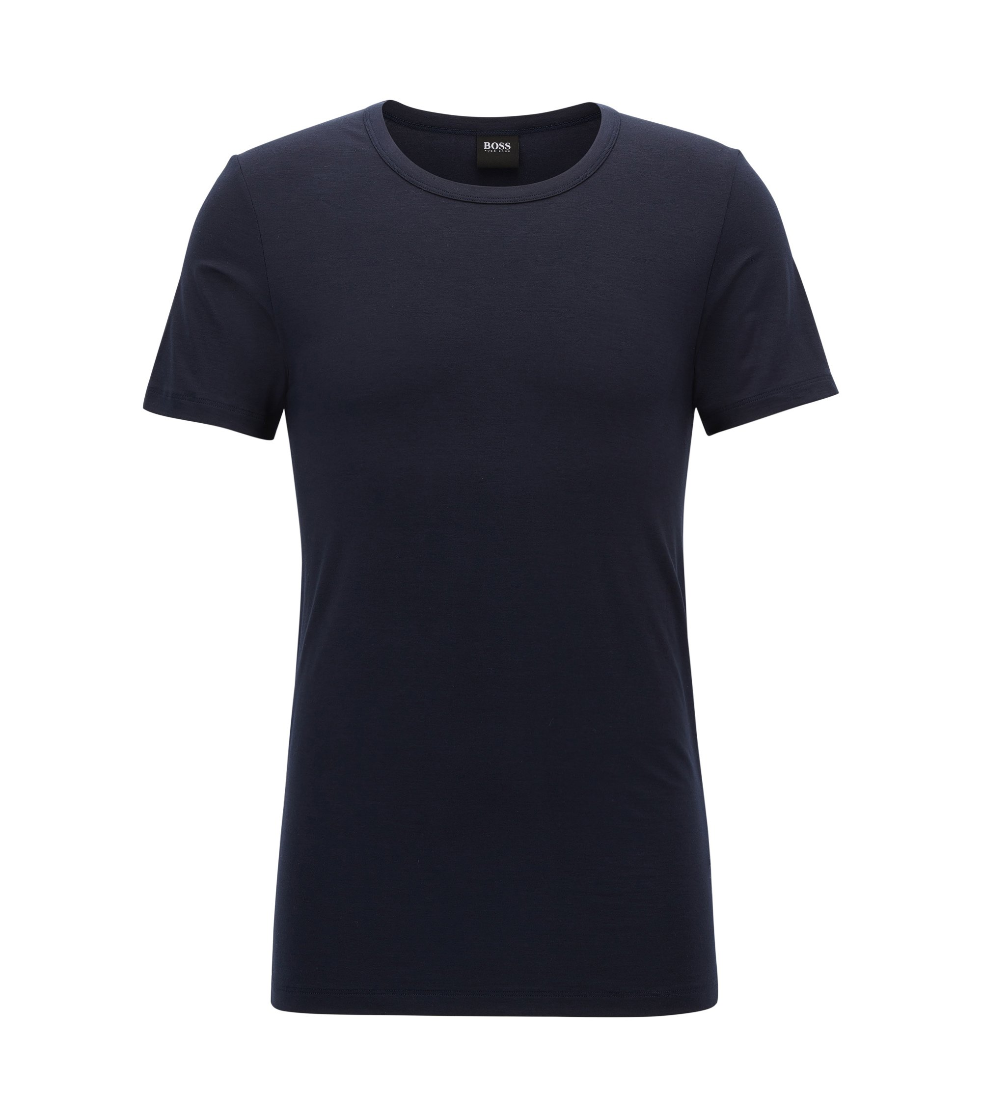 Crew-neck T-shirt in modal-blend jersey with stretch, Dark Blue