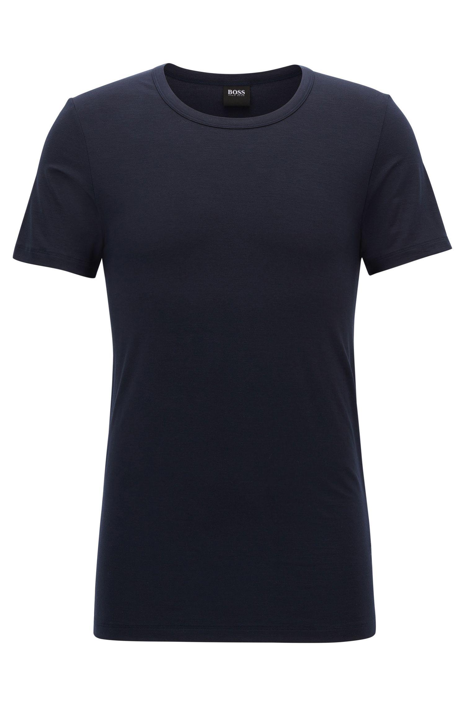 Camiseta con cuello redondo de punto en mezcla de modal con elástico