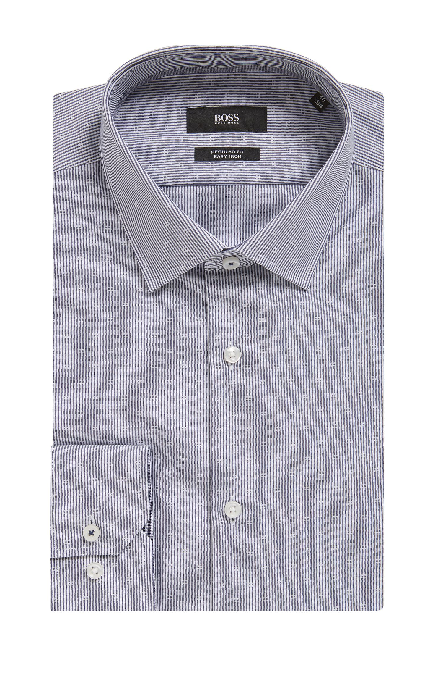 Regular-fit shirt in easy-iron dobby cotton poplin, Dark Blue