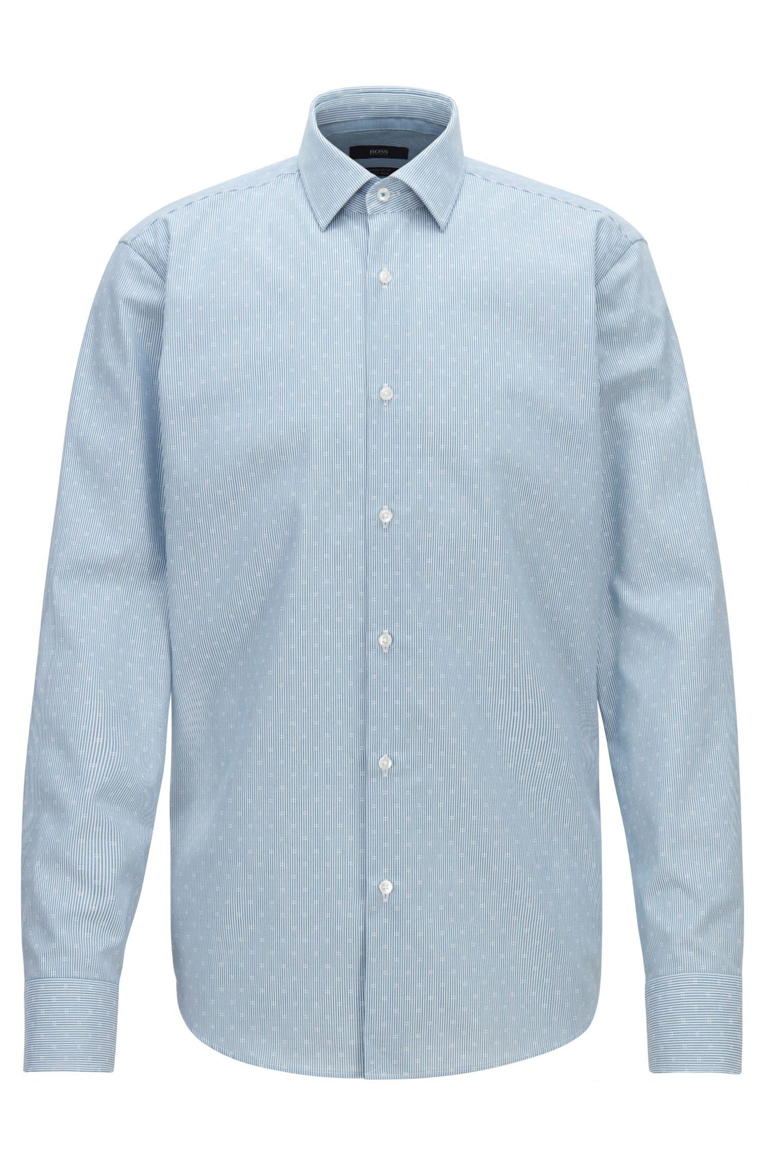 Camicia regular fit in popeline di cotone dobby facile da stirare, Turchese