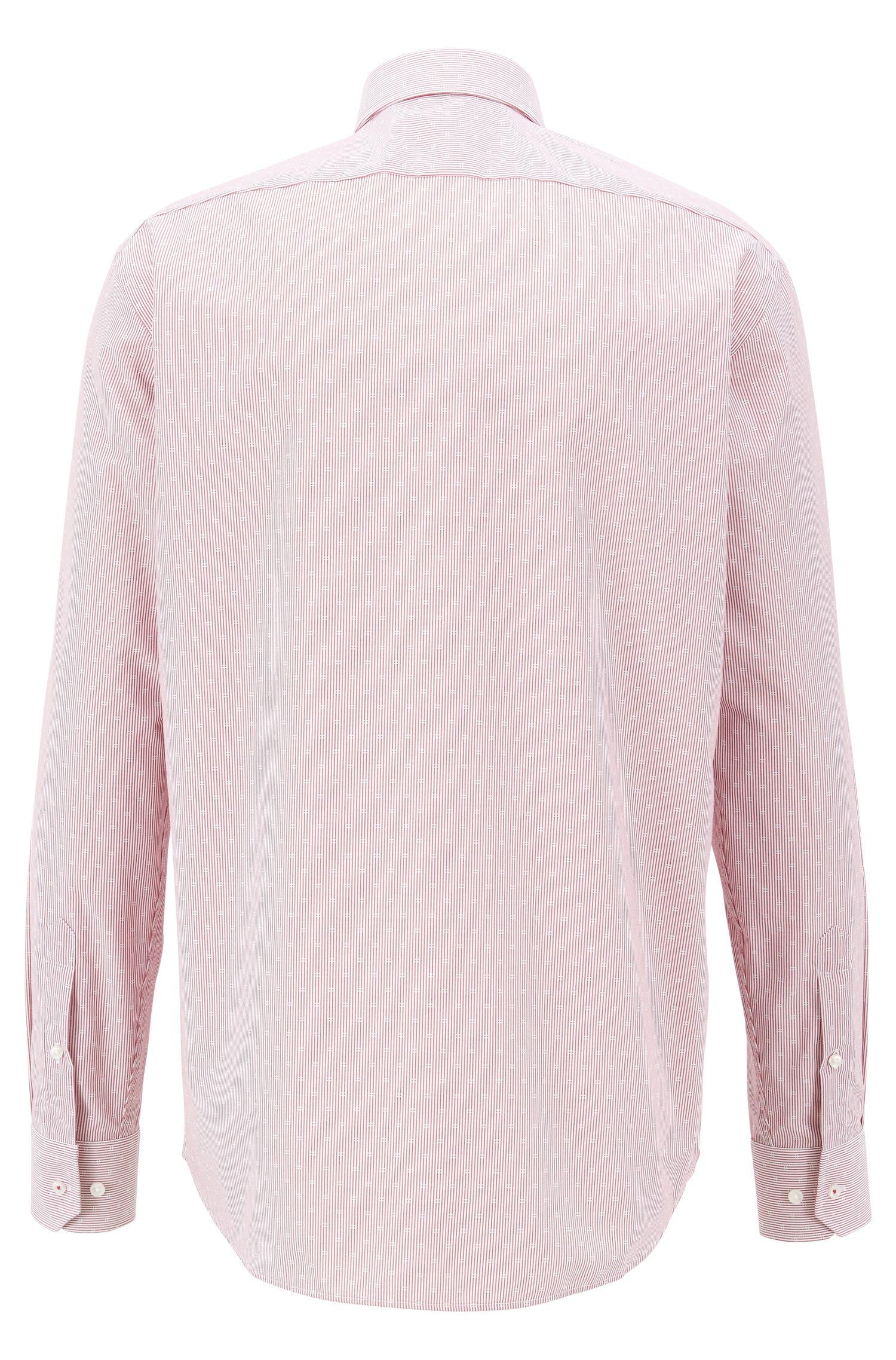 Regular-fit overhemd in een popeline van gemakkelijk te strijken dobbykatoen, Donkerrood