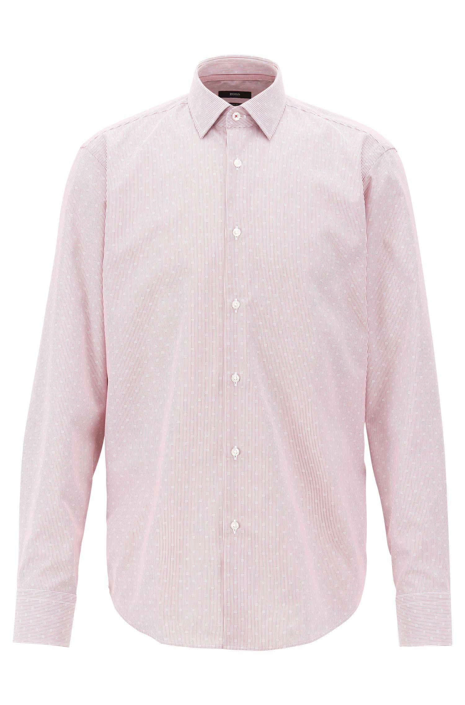 Regular-Fit Hemd aus bügelleichter Baumwoll-Popeline, Dunkelrot