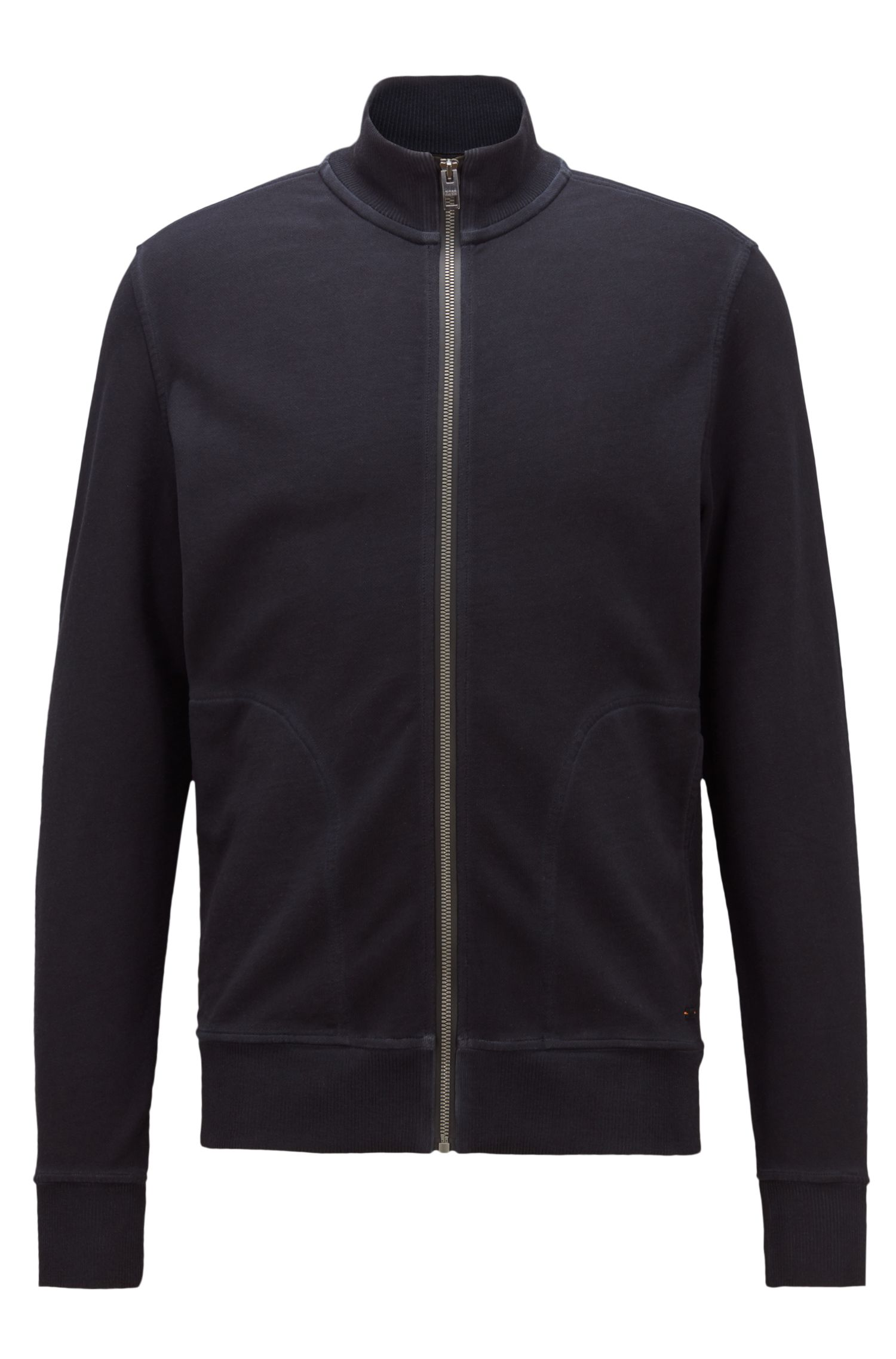Zip-through jacket in French terry with contrast zip, Dark Blue