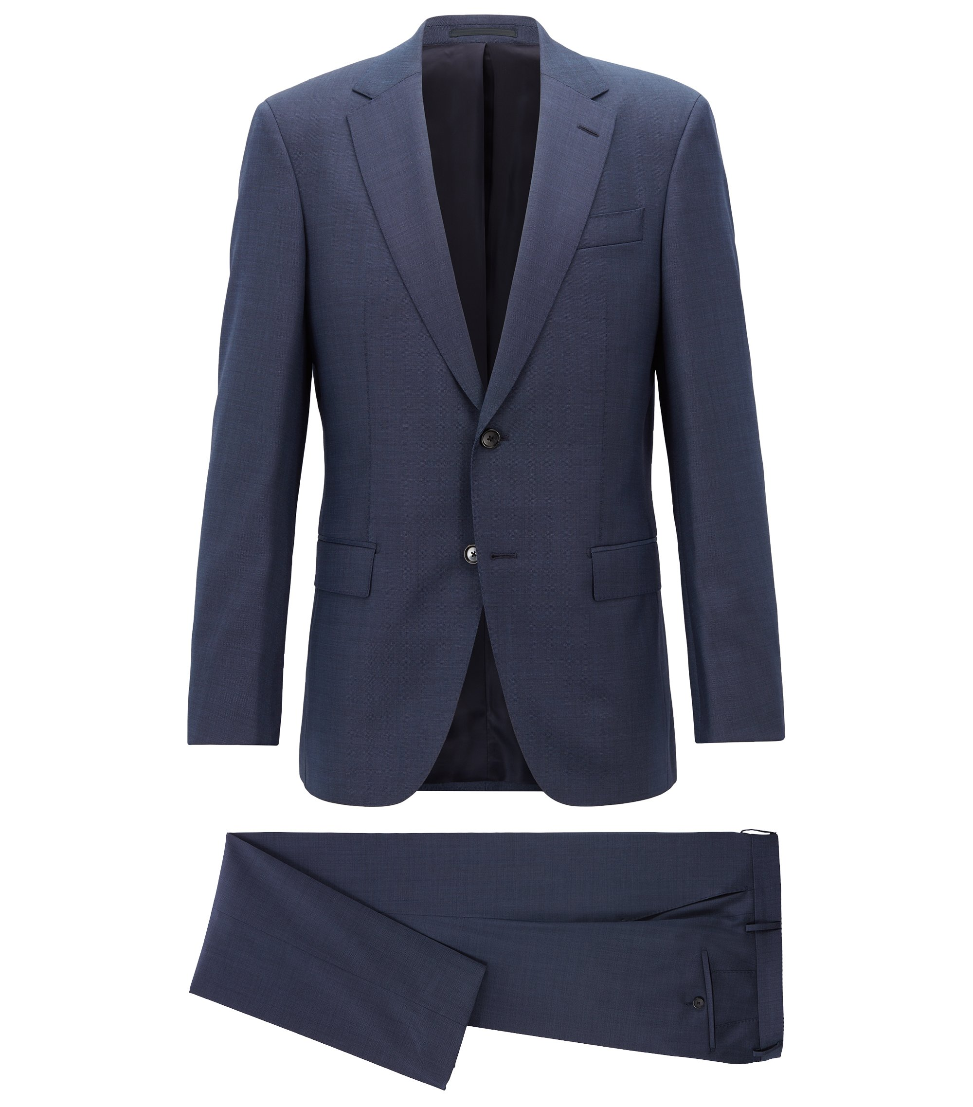 Regular-fit suit in micro-patterned virgin wool serge, Blue