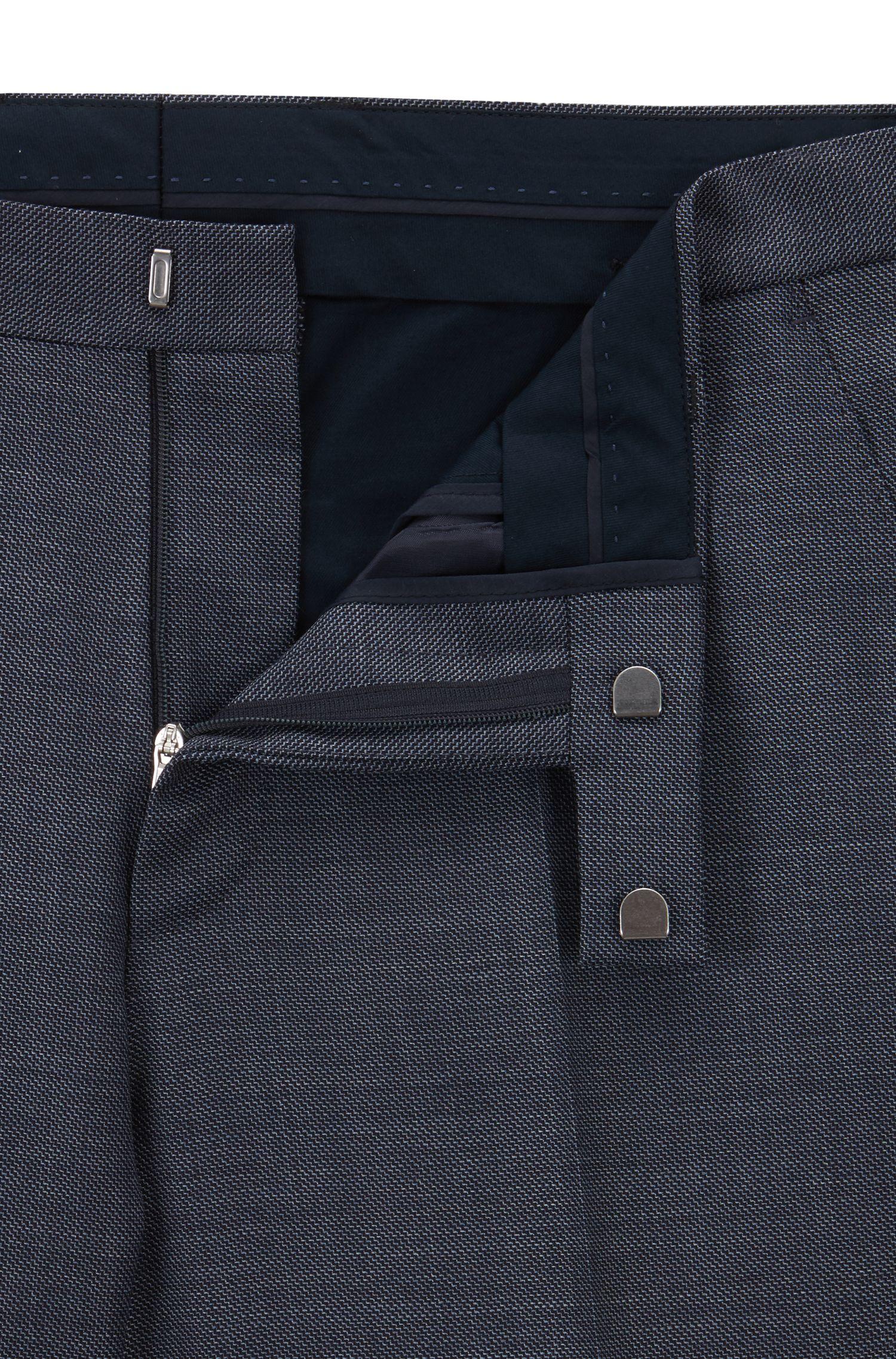 Abito regular fit in serge di lana vergine a microdisegni, Blu