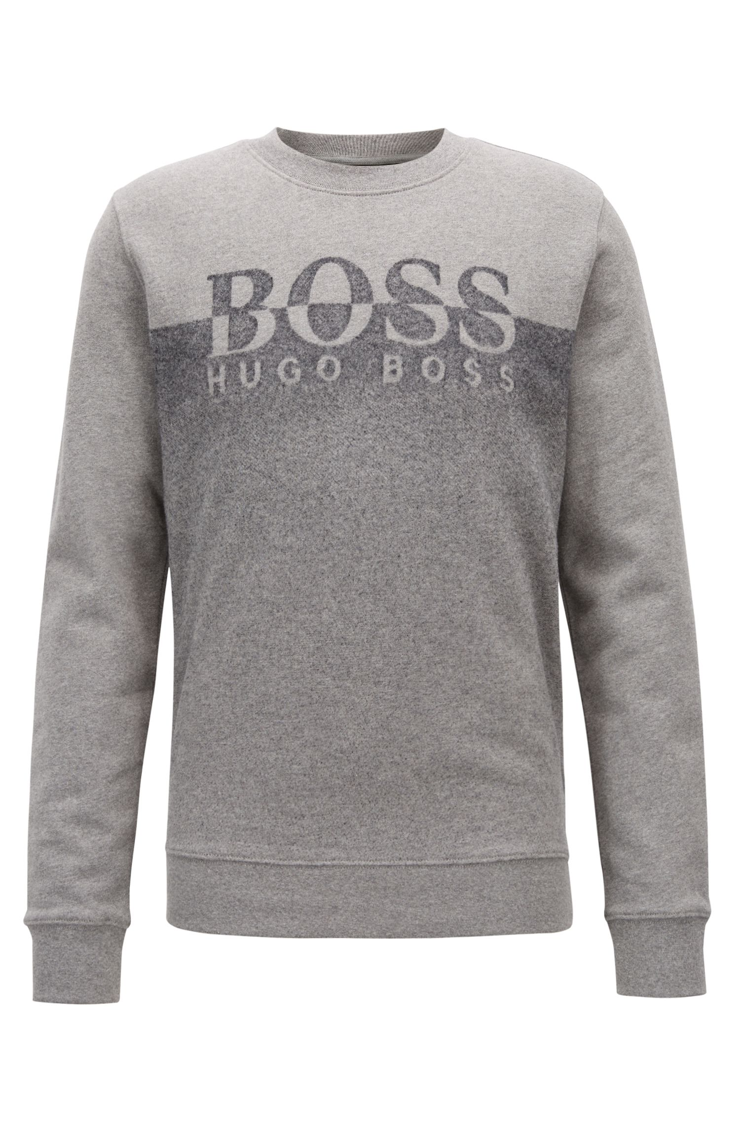 Regular-fit sweater van badstof met patroon met kleurverloop, Lichtgrijs