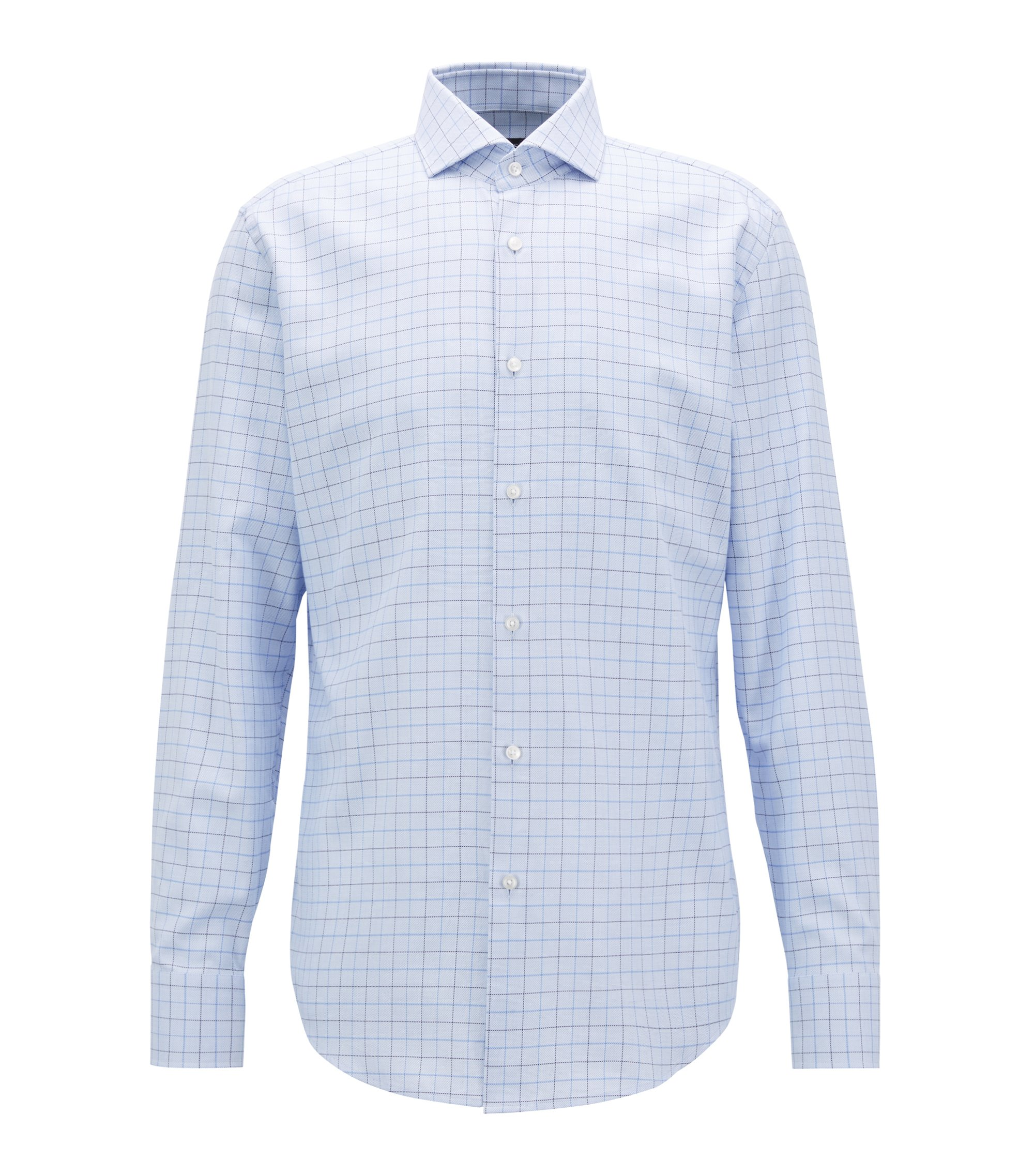 Slim-fit shirt in plain-check cotton twill, Light Blue