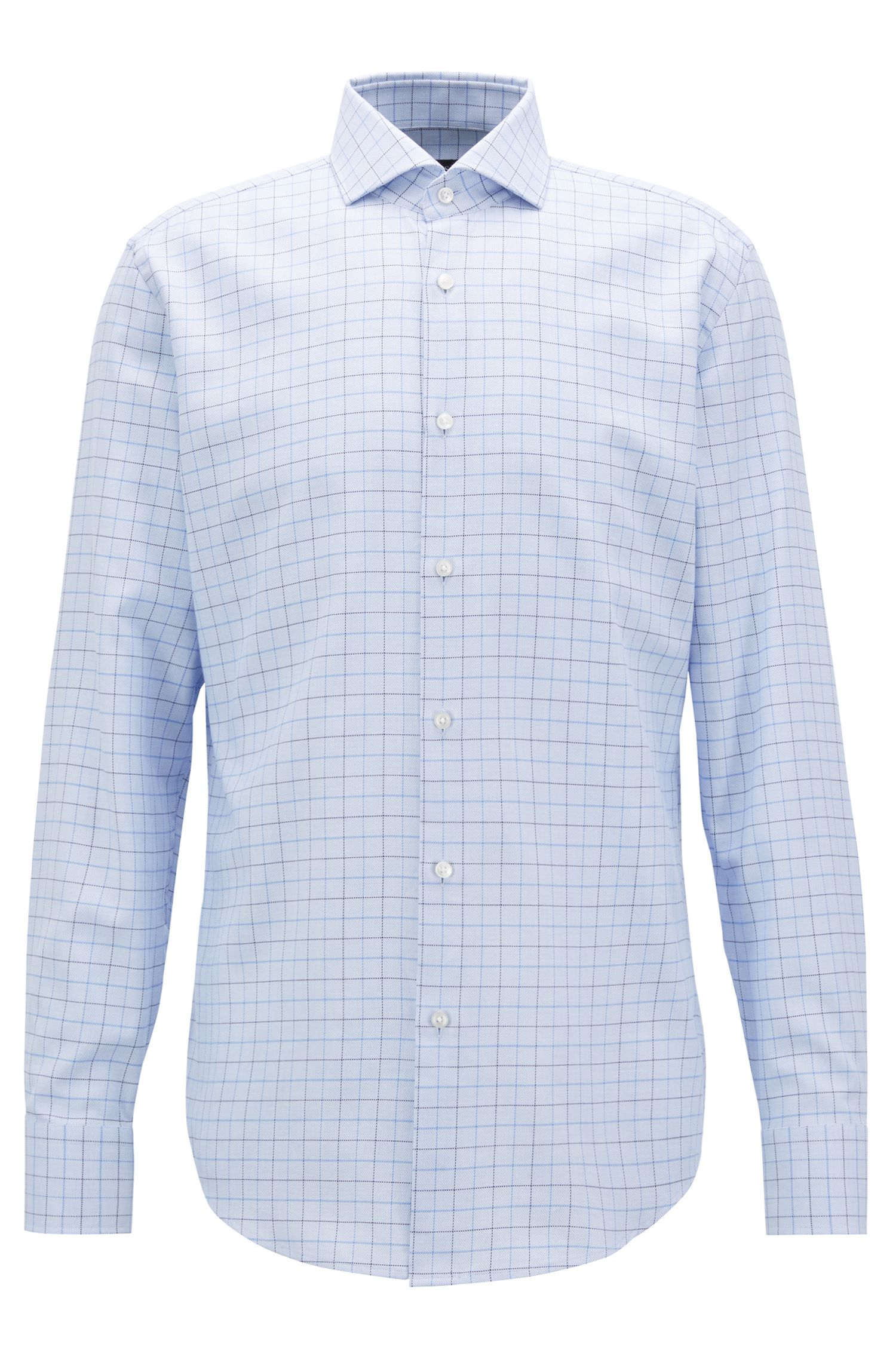 Slim-fit shirt in plain-check cotton twill
