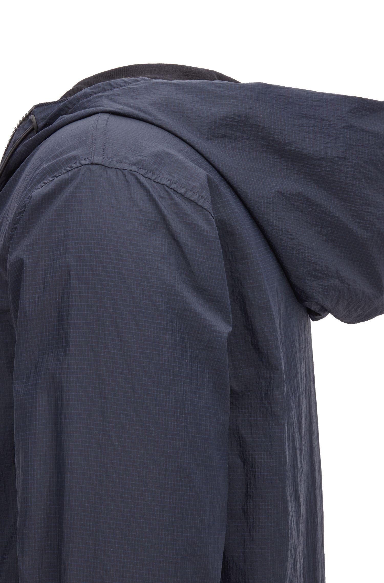 Giacca reversibile con cappuccio con cordoncino, Nero