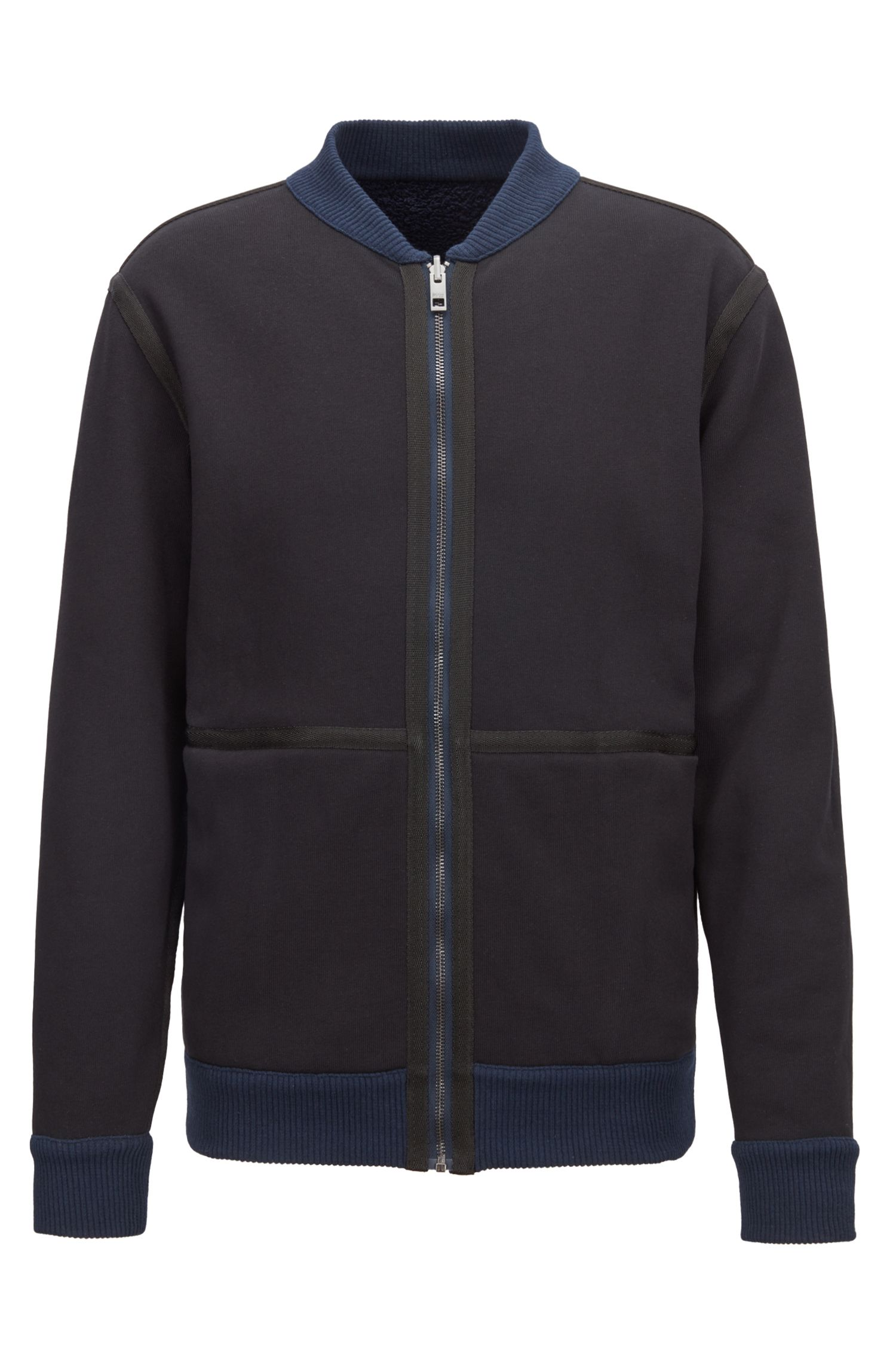 Relaxed-fit reversible jacket with technical herringbone tape details, Dark Blue