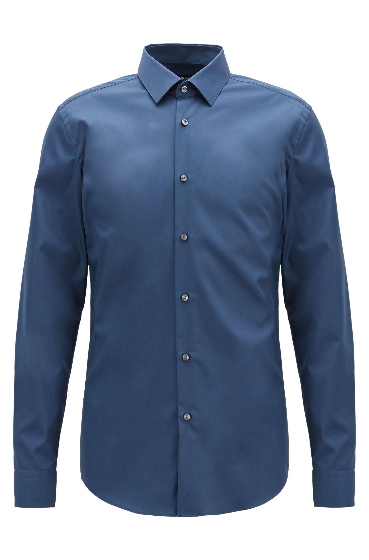 Chemise Slim Fit confectionnée en Autriche, en coton facile à repasser, Bleu vif
