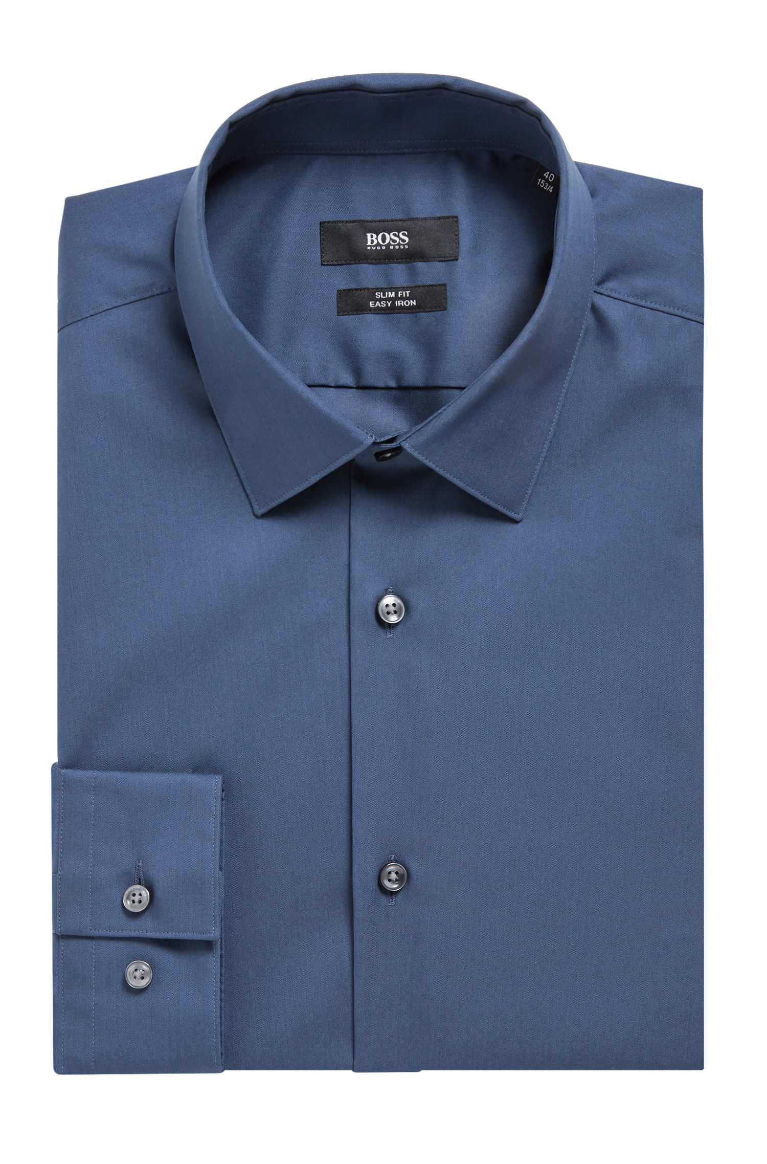 Austrian-made slim-fit shirt in easy-iron cotton, Open Blue