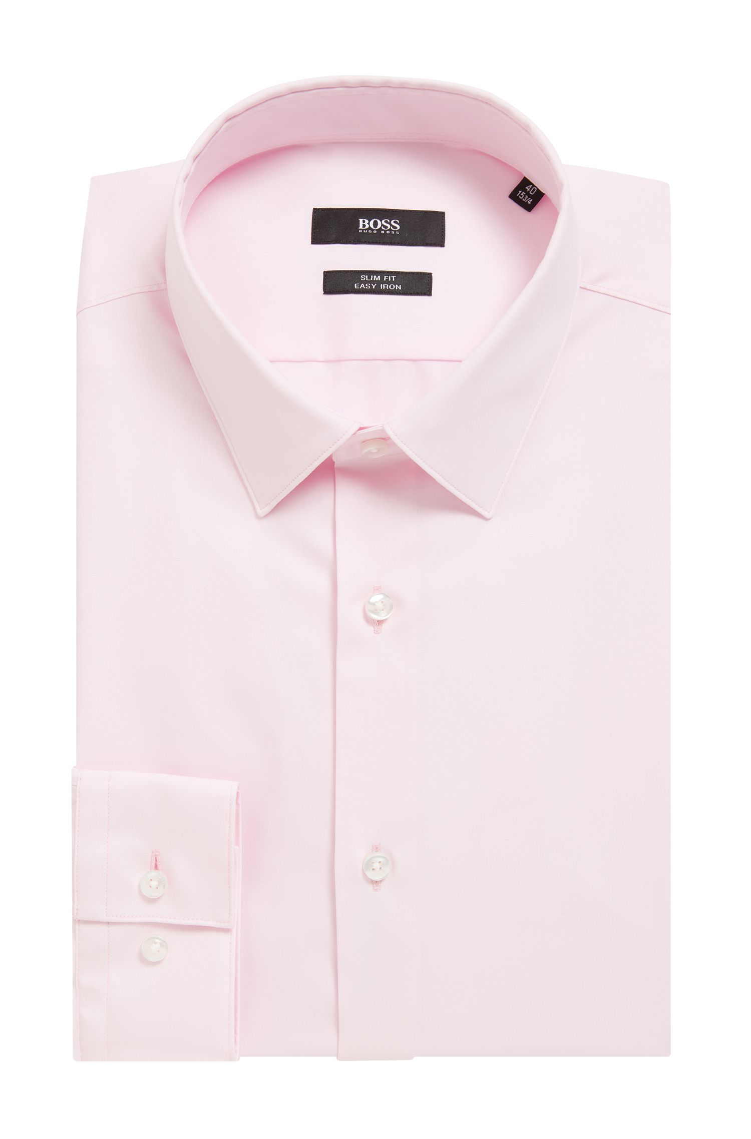 Austrian-made slim-fit shirt in easy-iron cotton, light pink