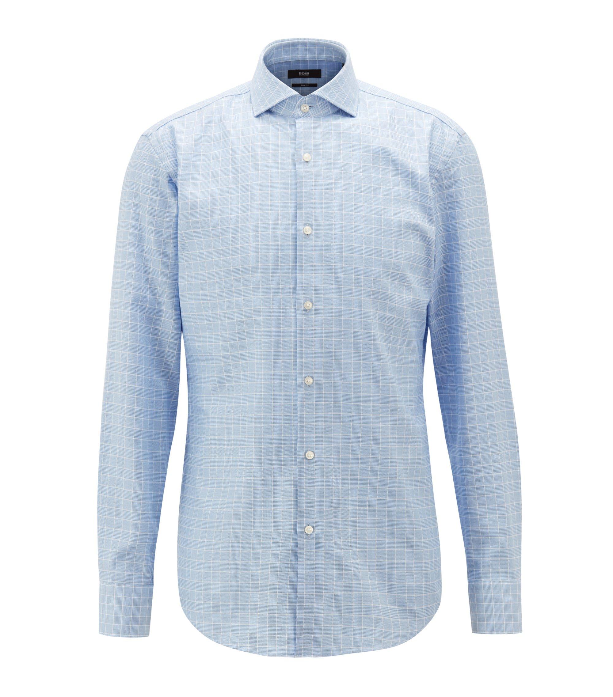 Slim-Fit Hemd aus Baumwolle mit Glencheck-Karo, Hellblau