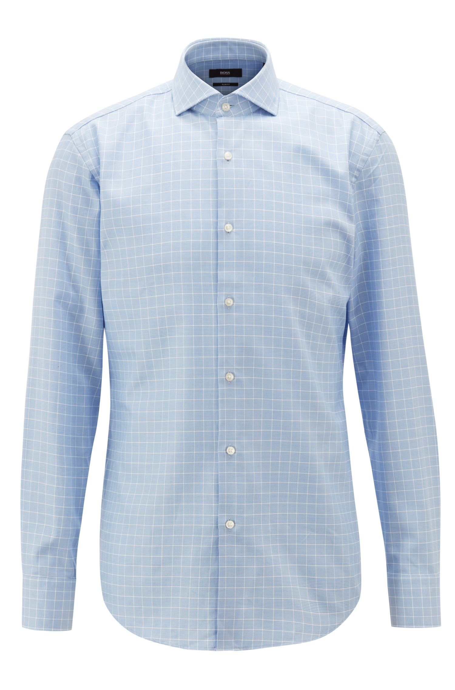 Camicia slim fit in cotone principe di Galles