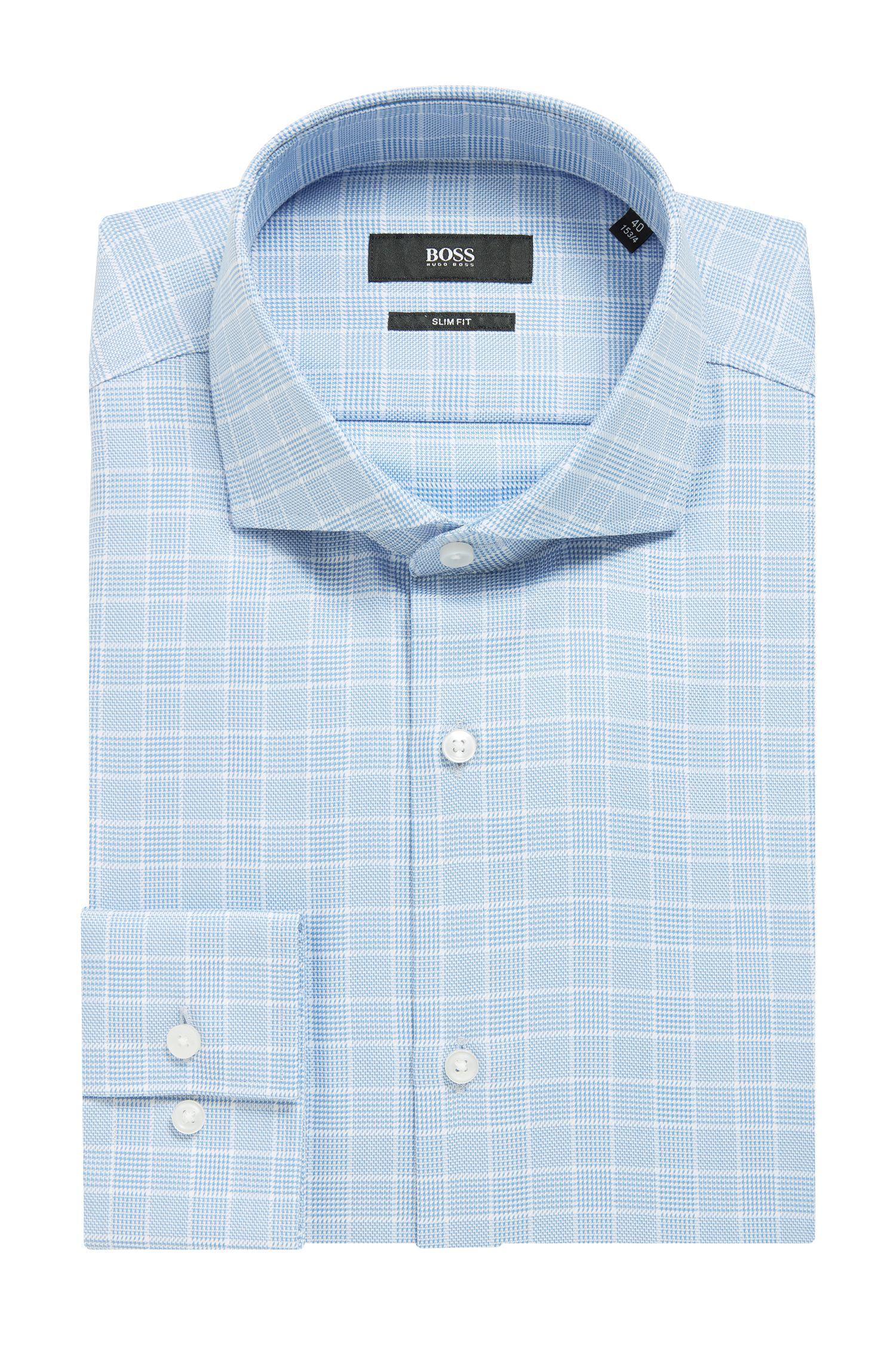 Camisa slim fit de algodón en estampado Príncipe de Gales, Celeste
