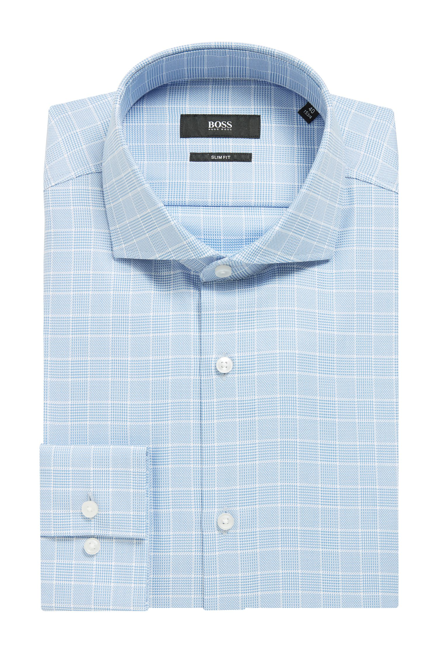 Slim-fit shirt in Glen-plaid cotton