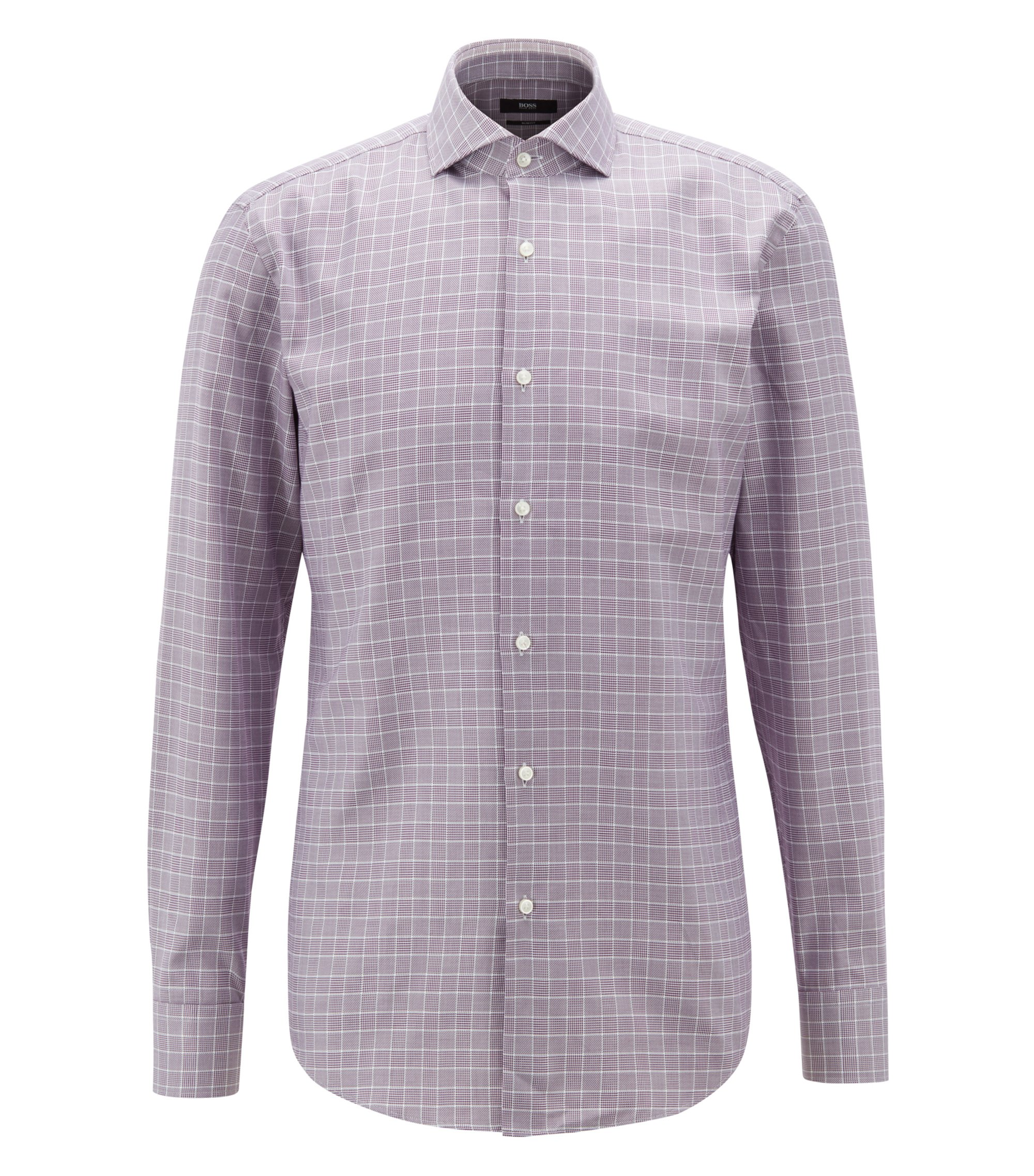 Camicia slim fit in cotone principe di Galles, Viola scuro