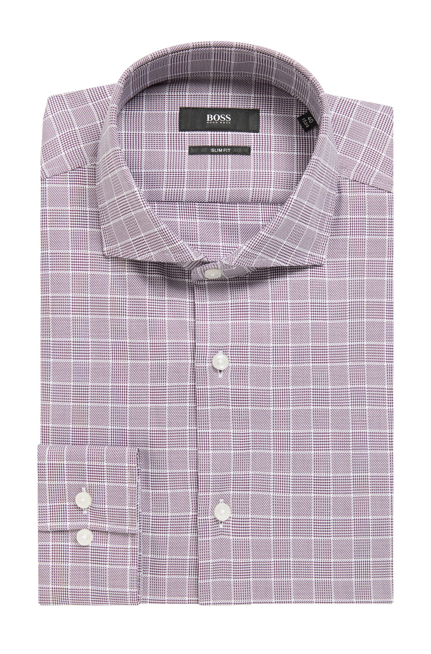 Slim-fit shirt in Glen-plaid cotton, Dark Purple