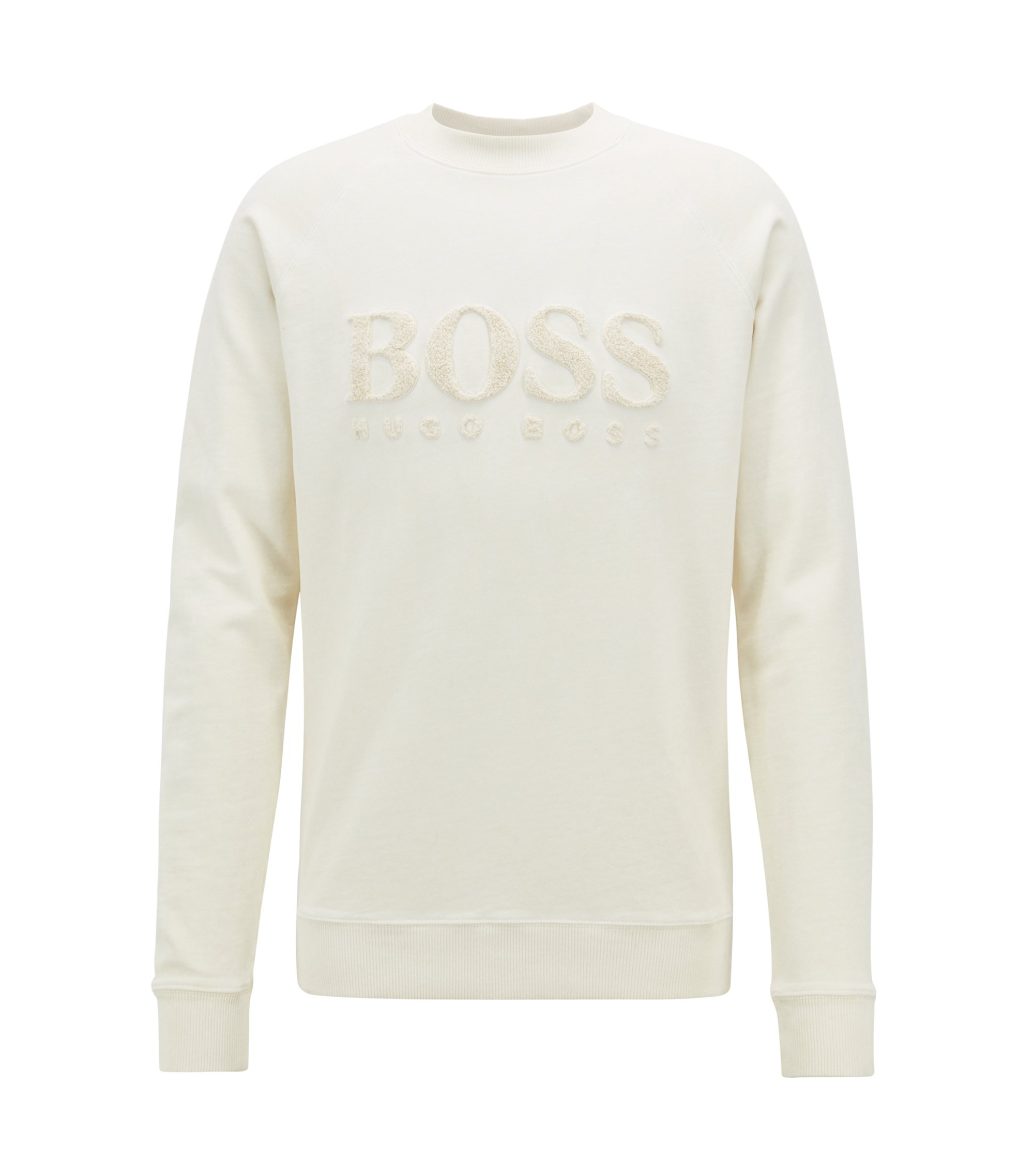 French-terry sweatshirt with embroidered logo, Light Beige