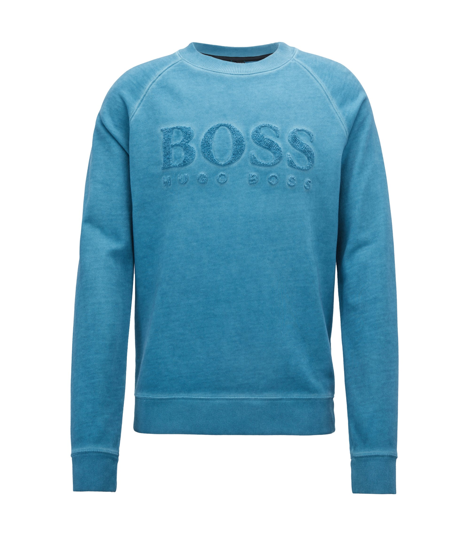 French-terry sweatshirt with embroidered logo, Light Blue