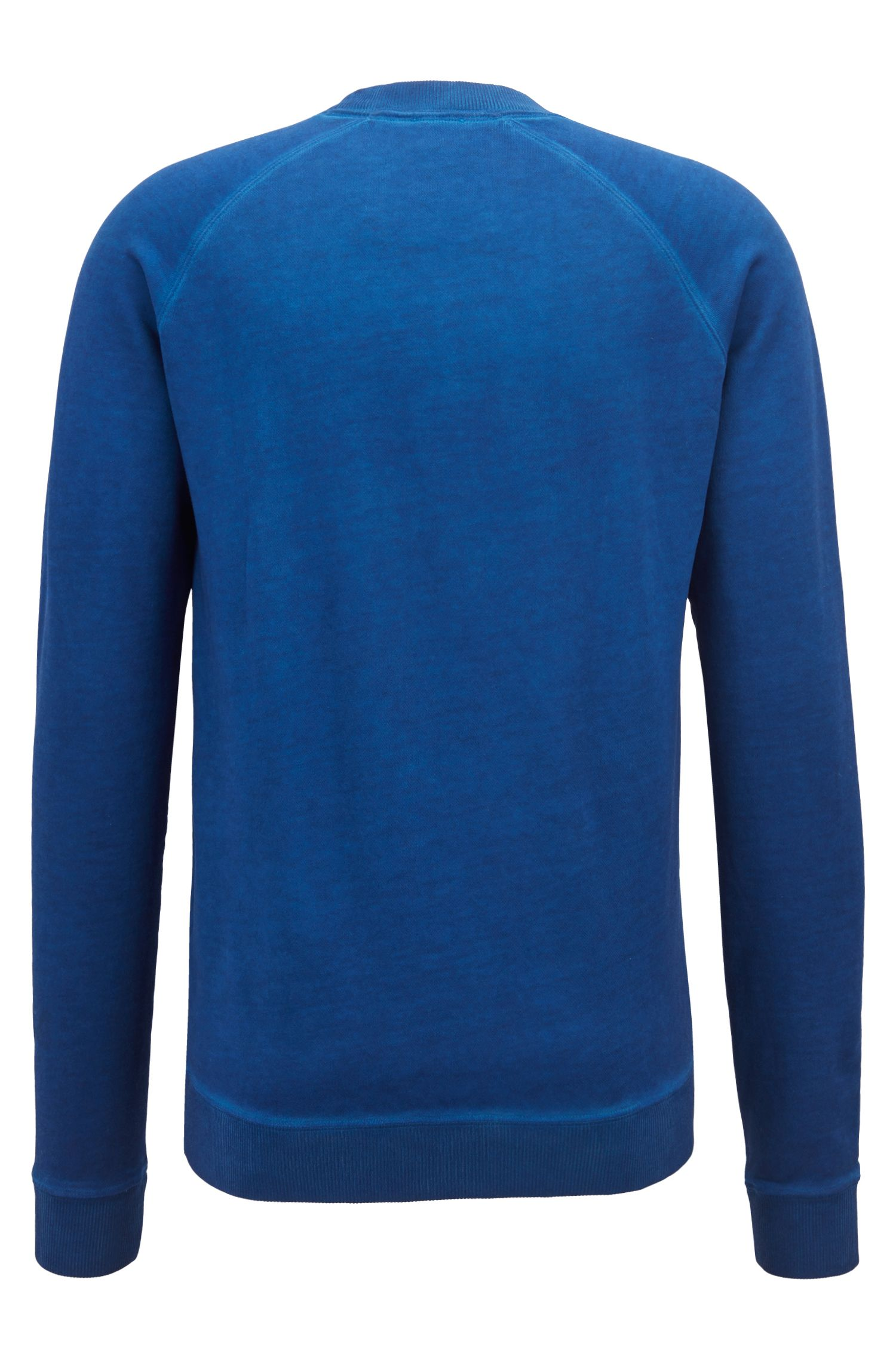 French-terry sweatshirt with embroidered logo, Blue