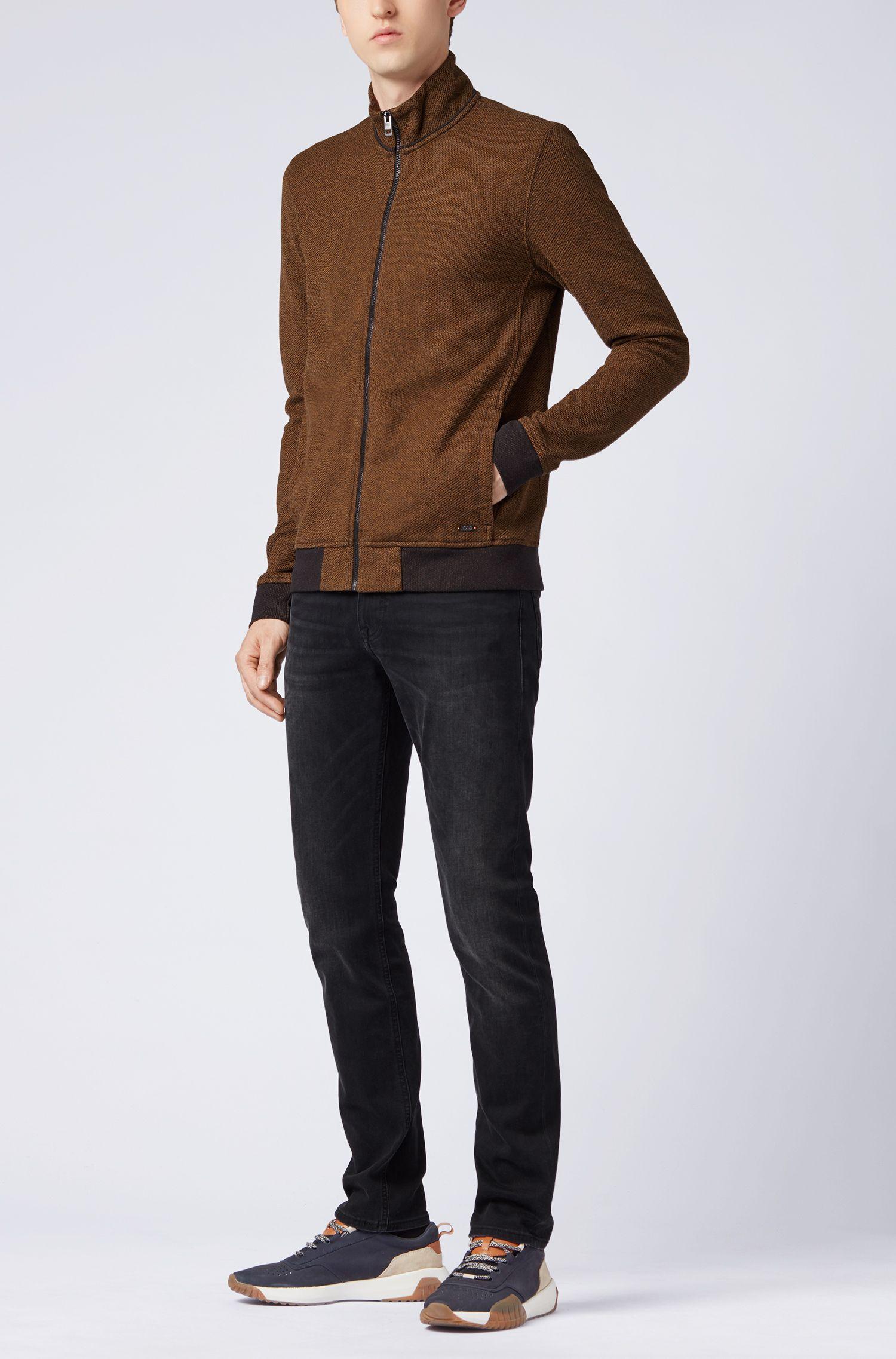 Jacke aus Jersey mit Mesh-Struktur und Reißverschluss, Braun