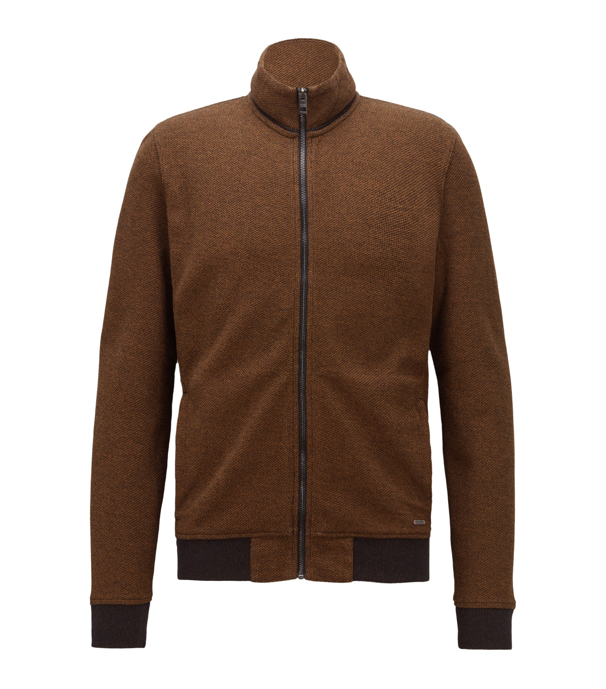 Zip-through jersey jacket with mesh structure, Brown