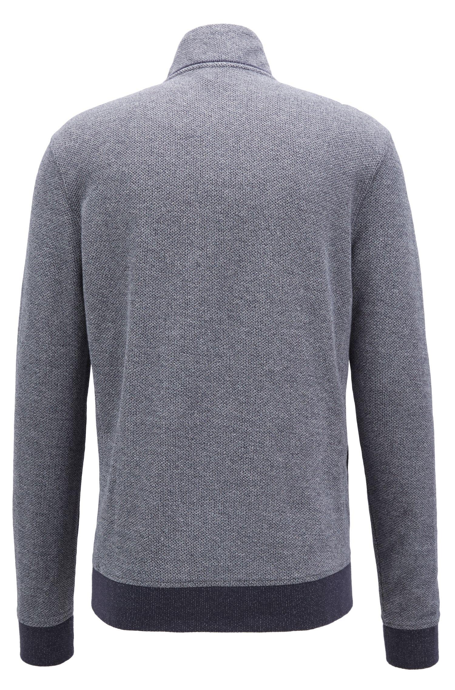 Veste en jersey zippée à la structure mesh, Bleu foncé