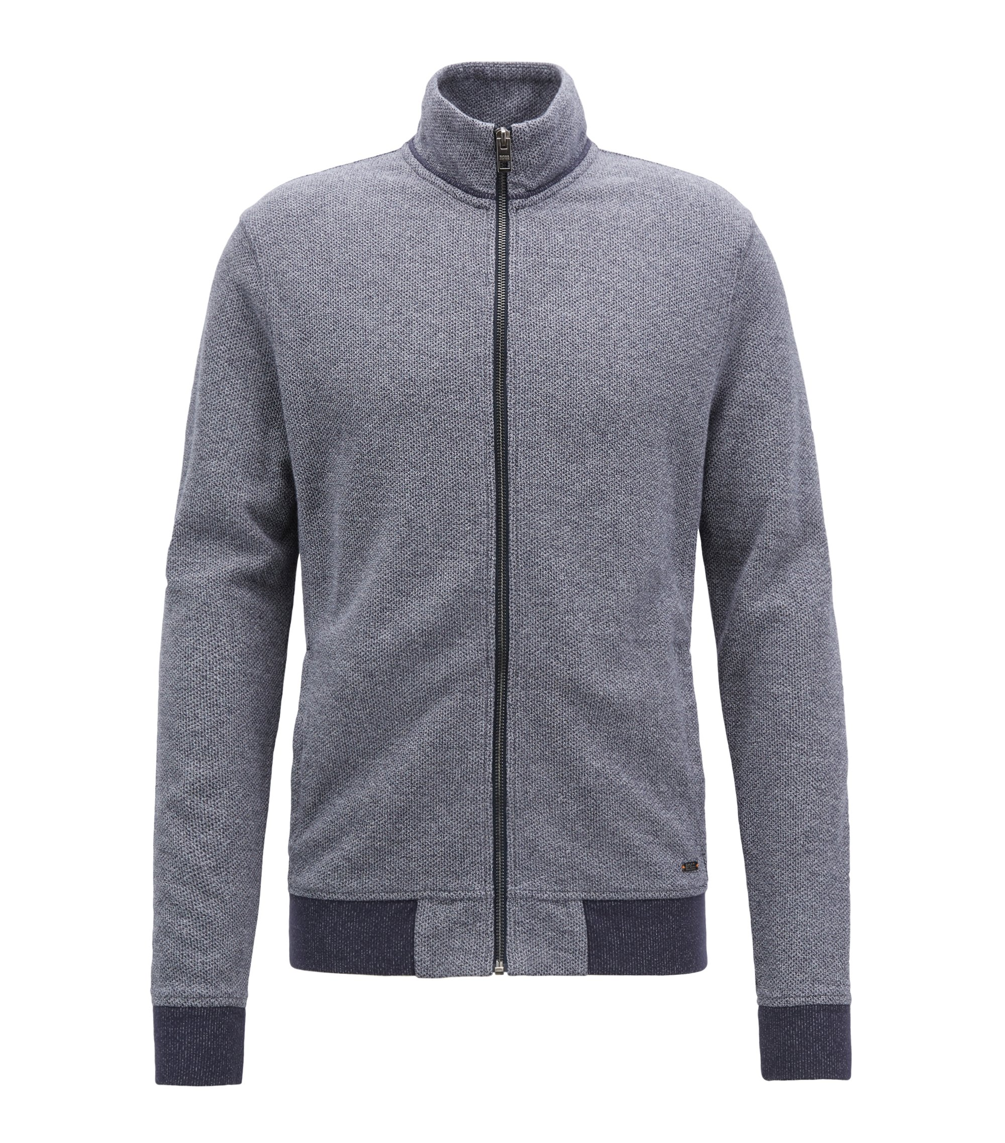Zip-through jersey jacket with mesh structure, Dark Blue