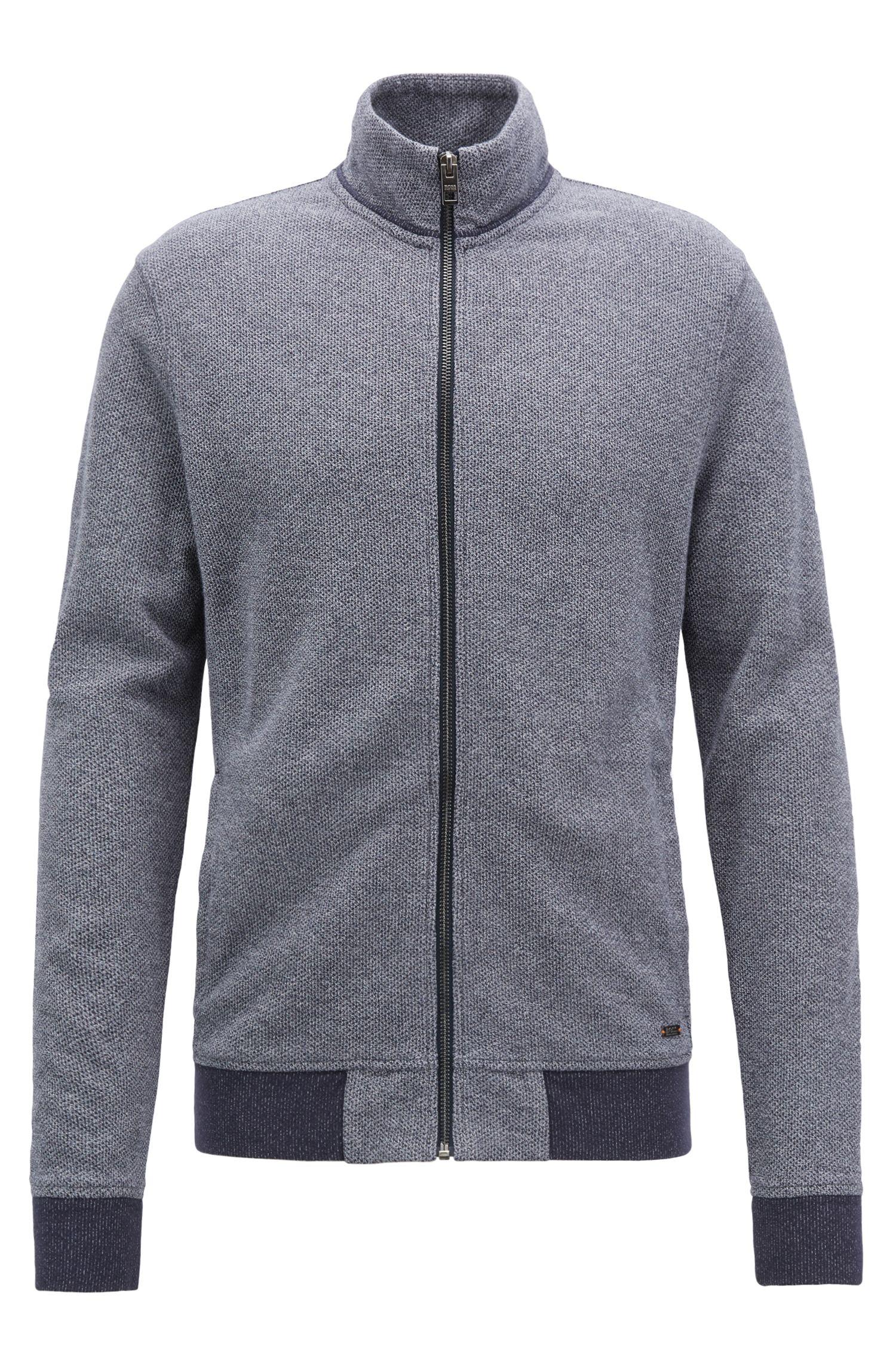 Jacke aus Jersey mit Mesh-Struktur und Reißverschluss, Dunkelblau