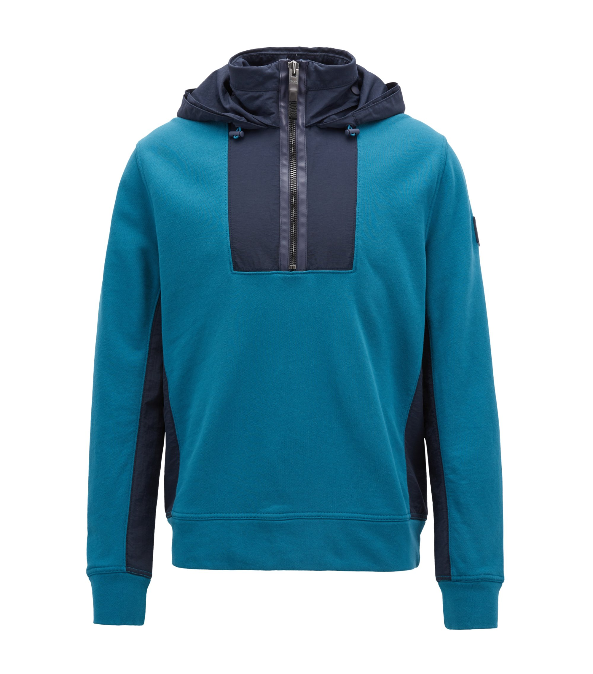 Kapuzen-Sweatshirt aus French Terry und Material-Mix, Blau